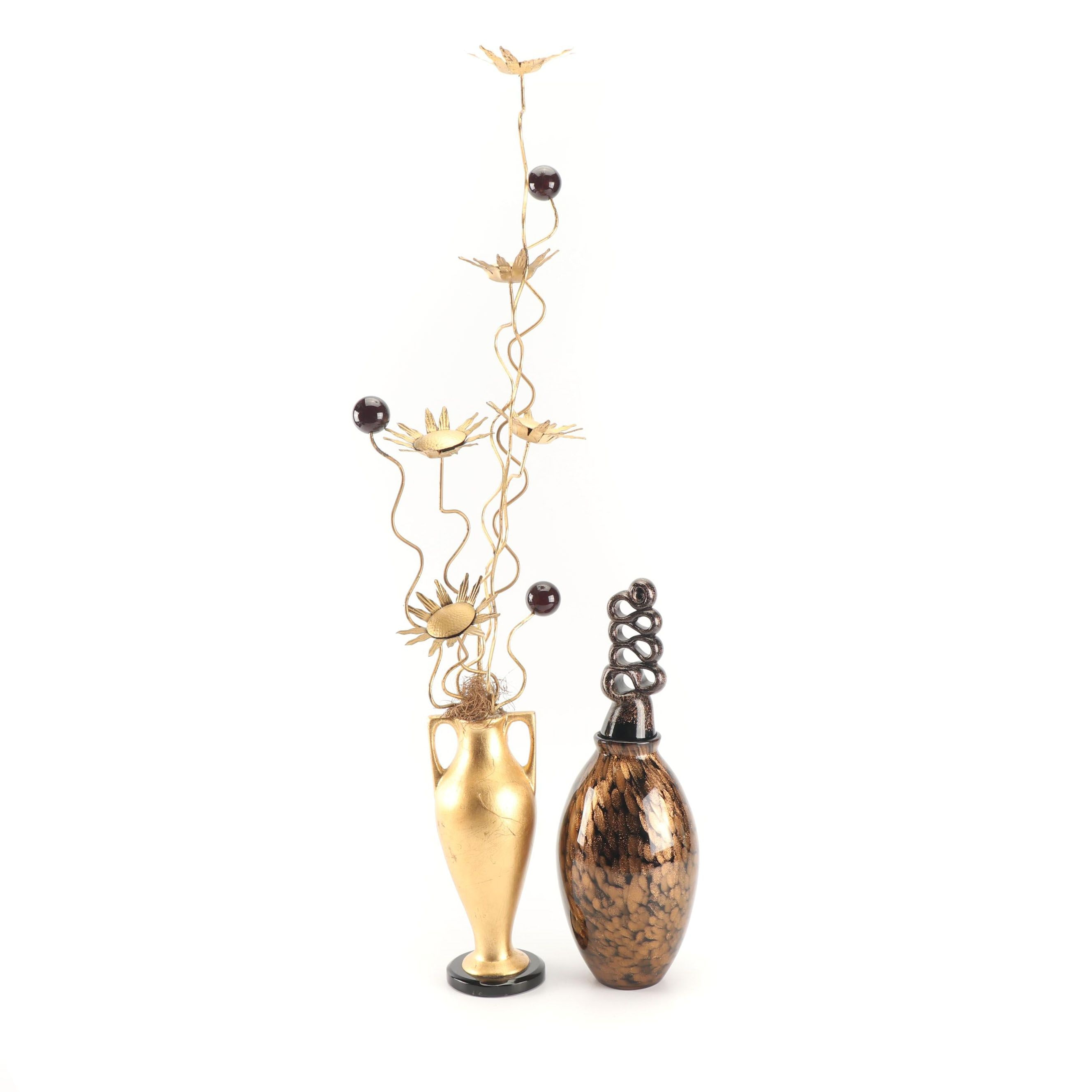 Fusion Art Glass Decanter and Sculptural Flowers in Metallic Vase