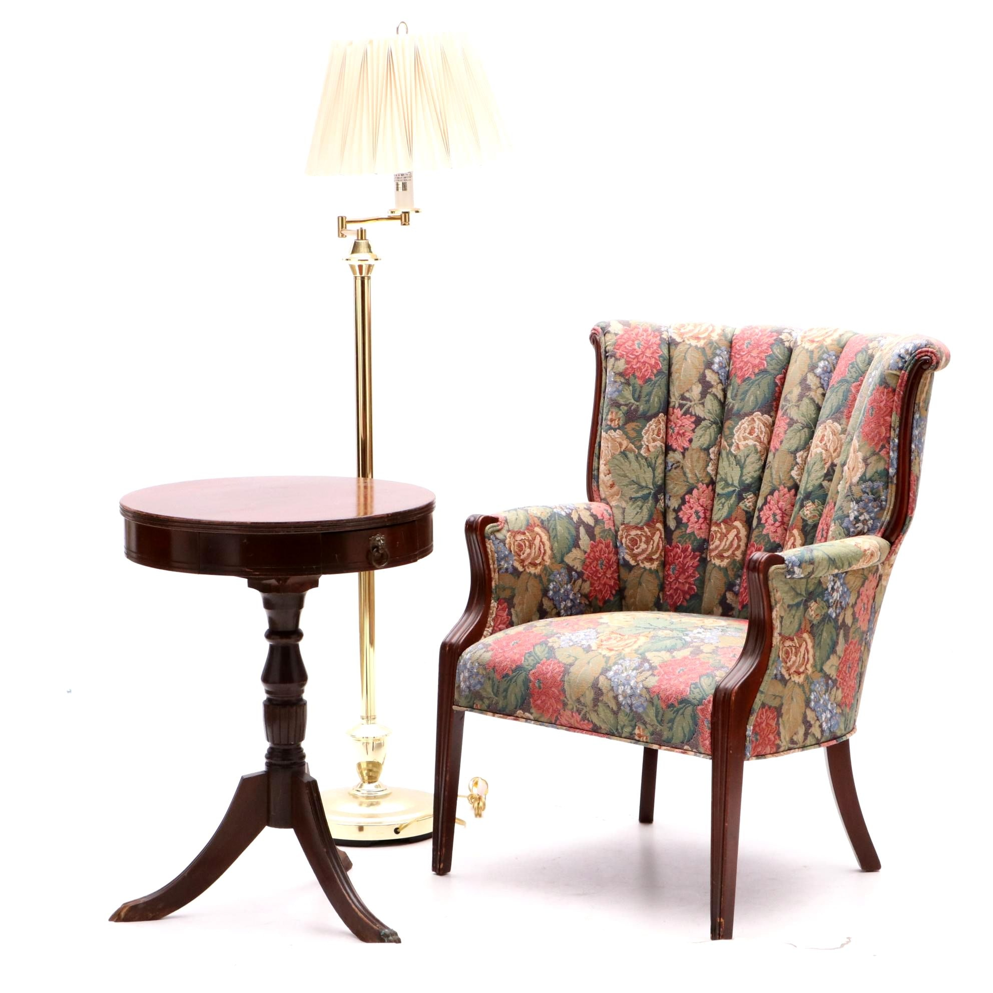 Upholstered Floral Arm Chair, Accent Table and Floor Lamp
