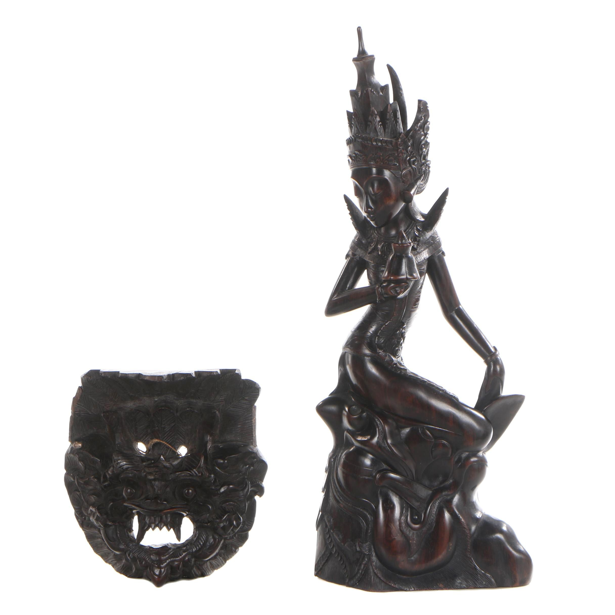 Balinese Carved Wood Figure and Barong Mask