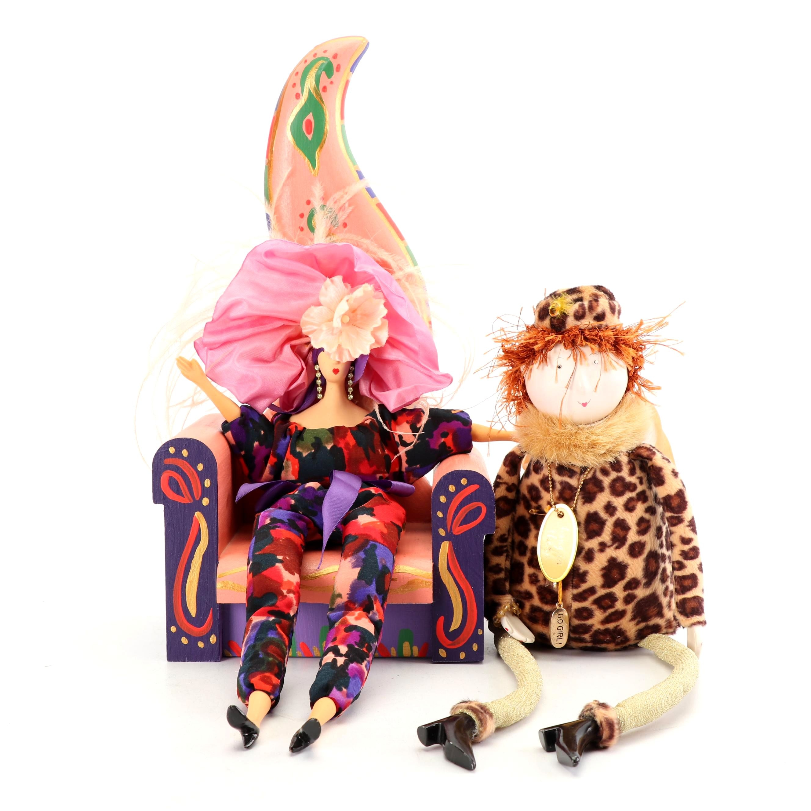 Rigodon French Poupée and Folk Art Doll with Isabella Doll Chair, 1990s