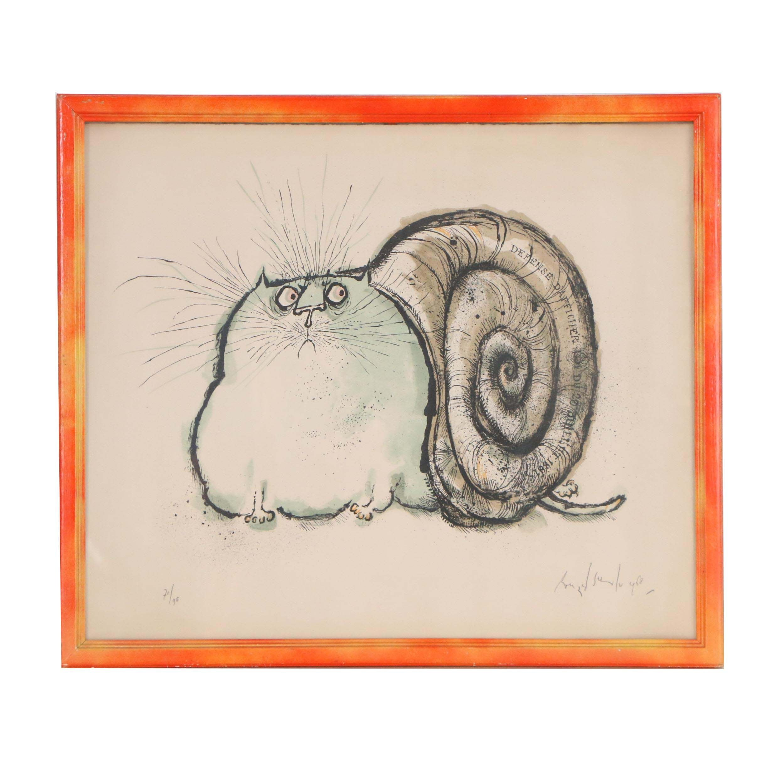 "Ronald Searle Lithograph ""Cat with Snail Shell"""