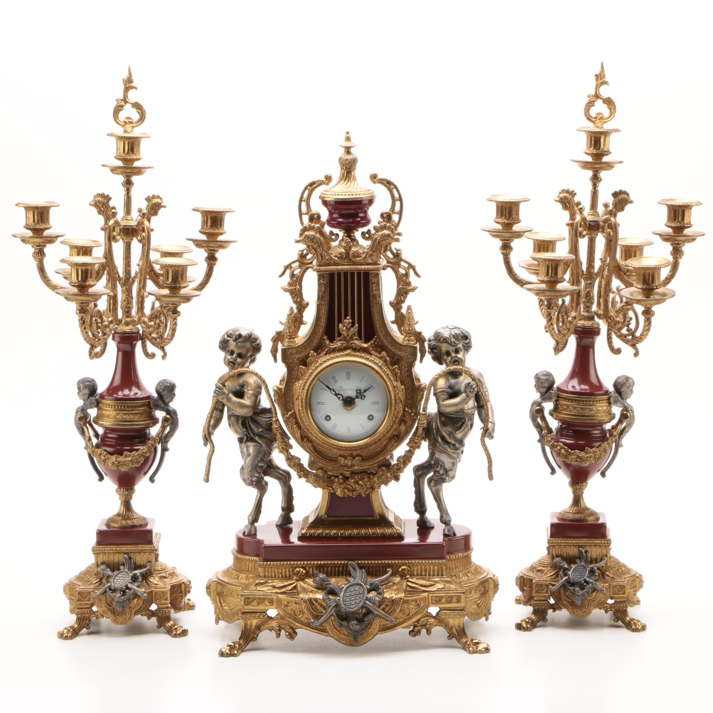 Brevettato Italian Imperial Clock Garniture Set, 1980s