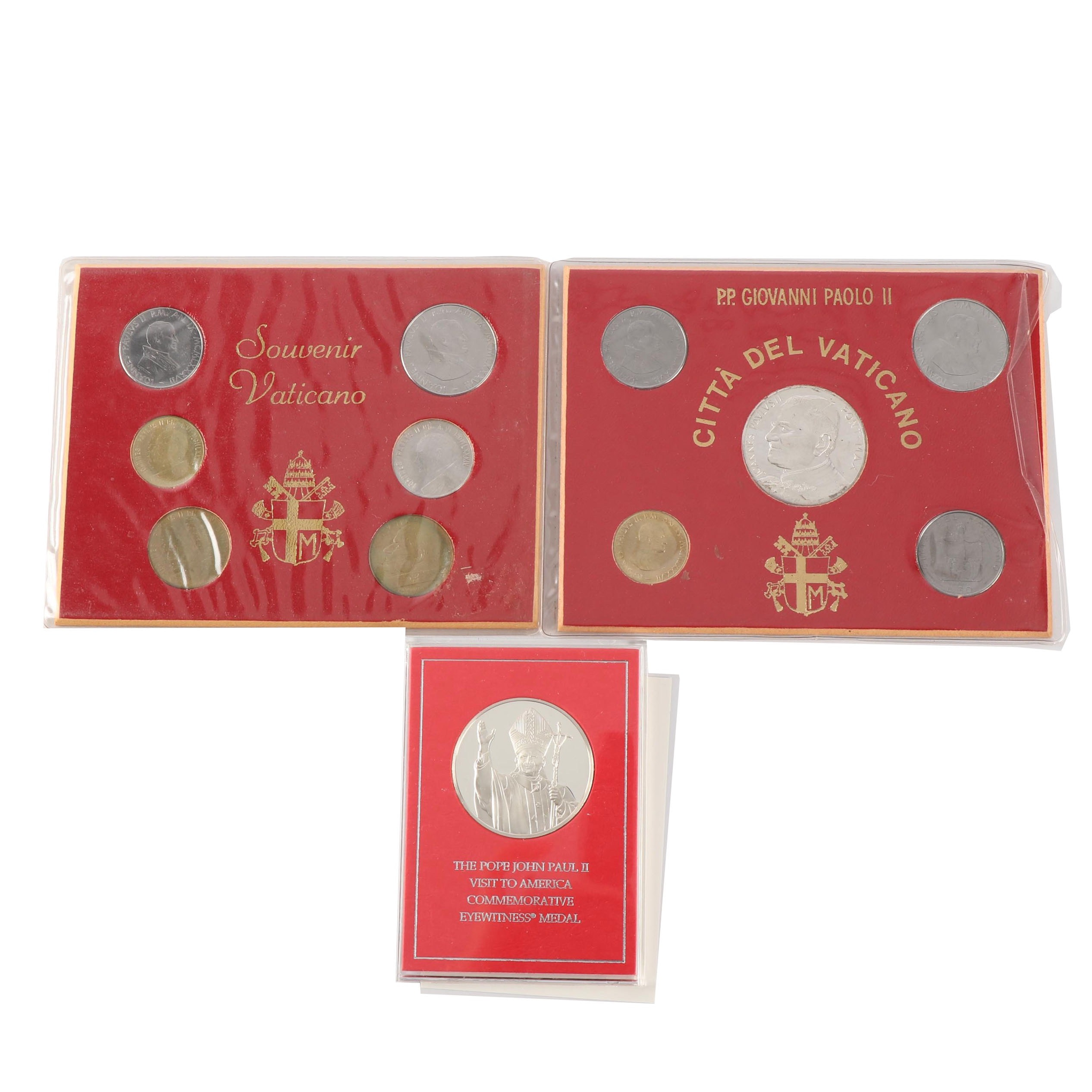 Pope John Paul II Sterling Silver Commemorative Medal and Vatican Coin Sets