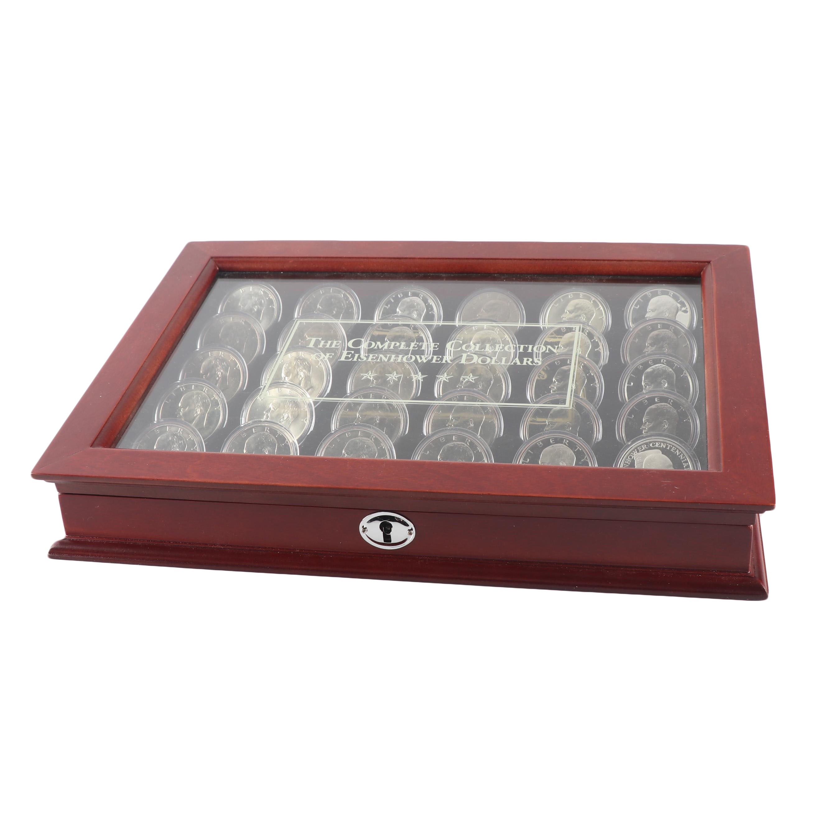 """PCS """"The Complete Collection of Eisenhower Dollars"""" in Wood Case"""