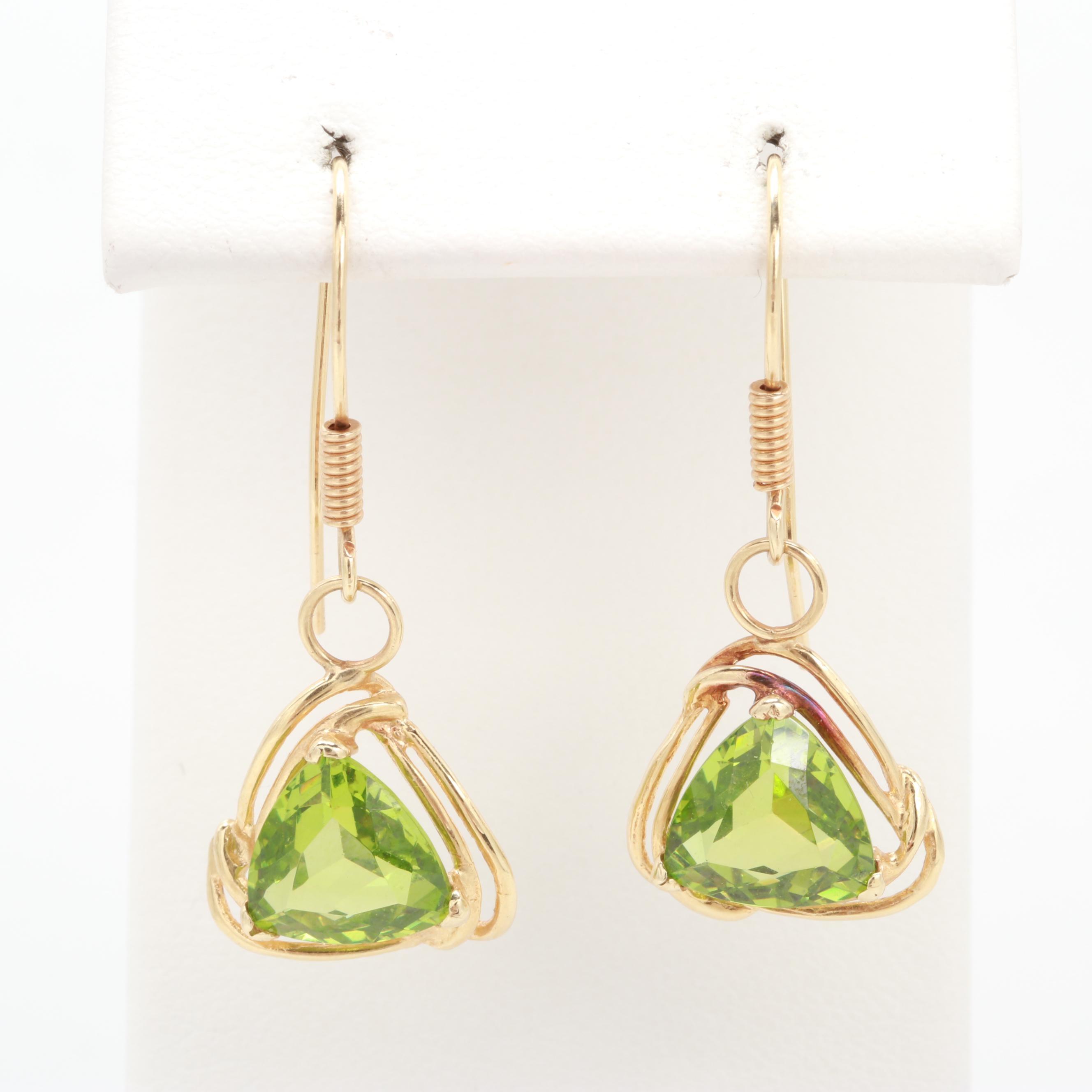 14K Yellow Gold Tsavorite Garnet Dangle Earrings