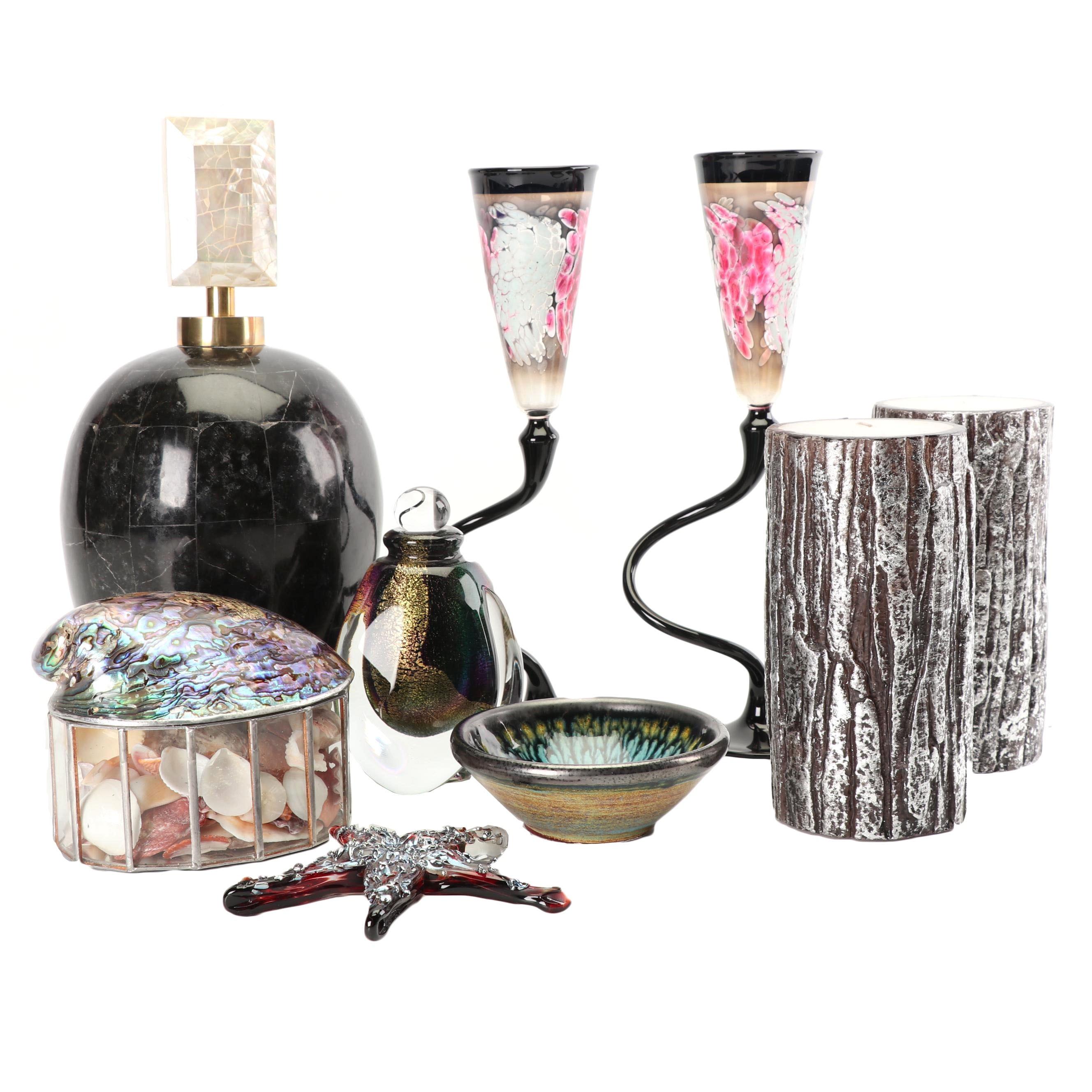 Contemporary Home Decor Including Art Glass