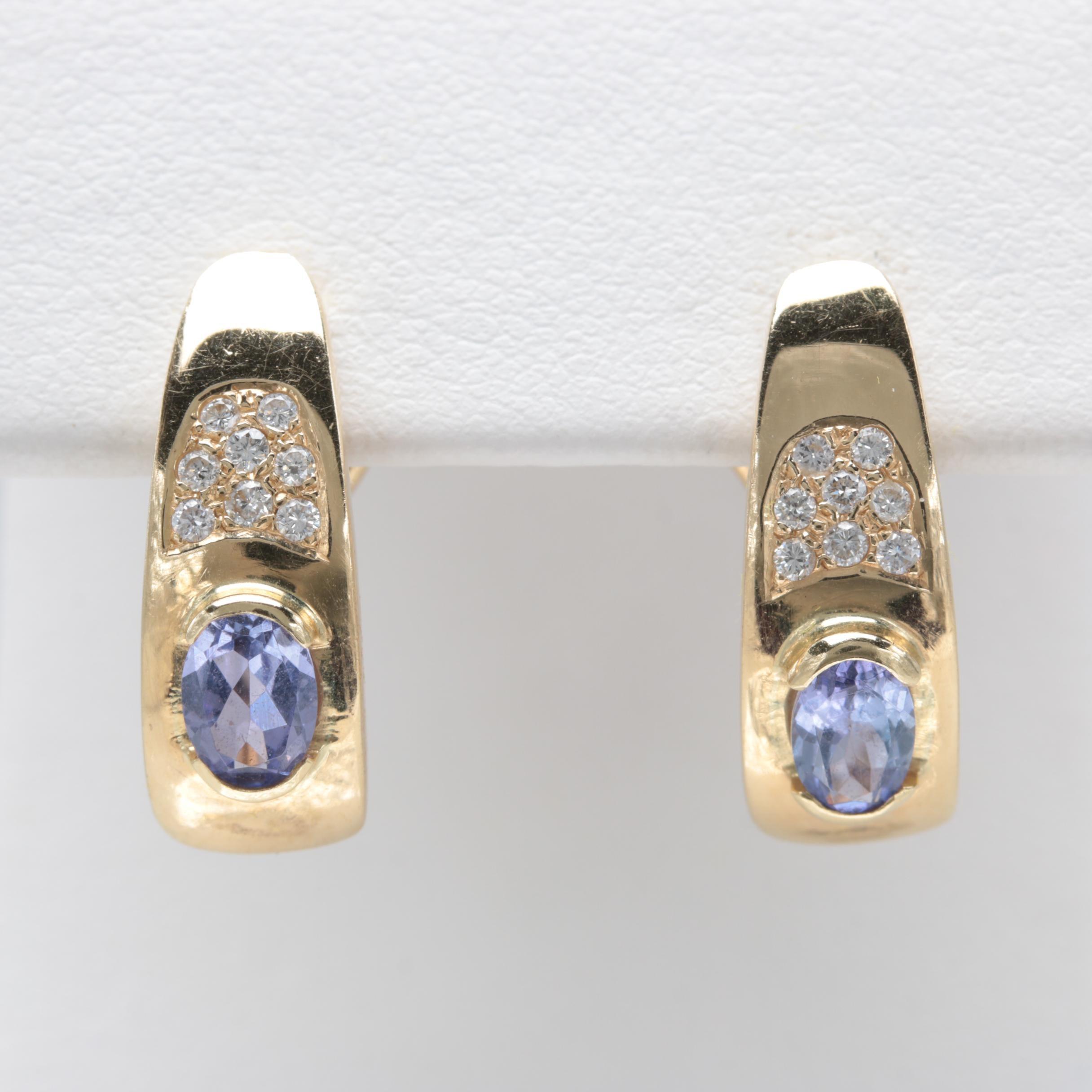 18K Yellow Gold Tanzanite and Diamond Earrings