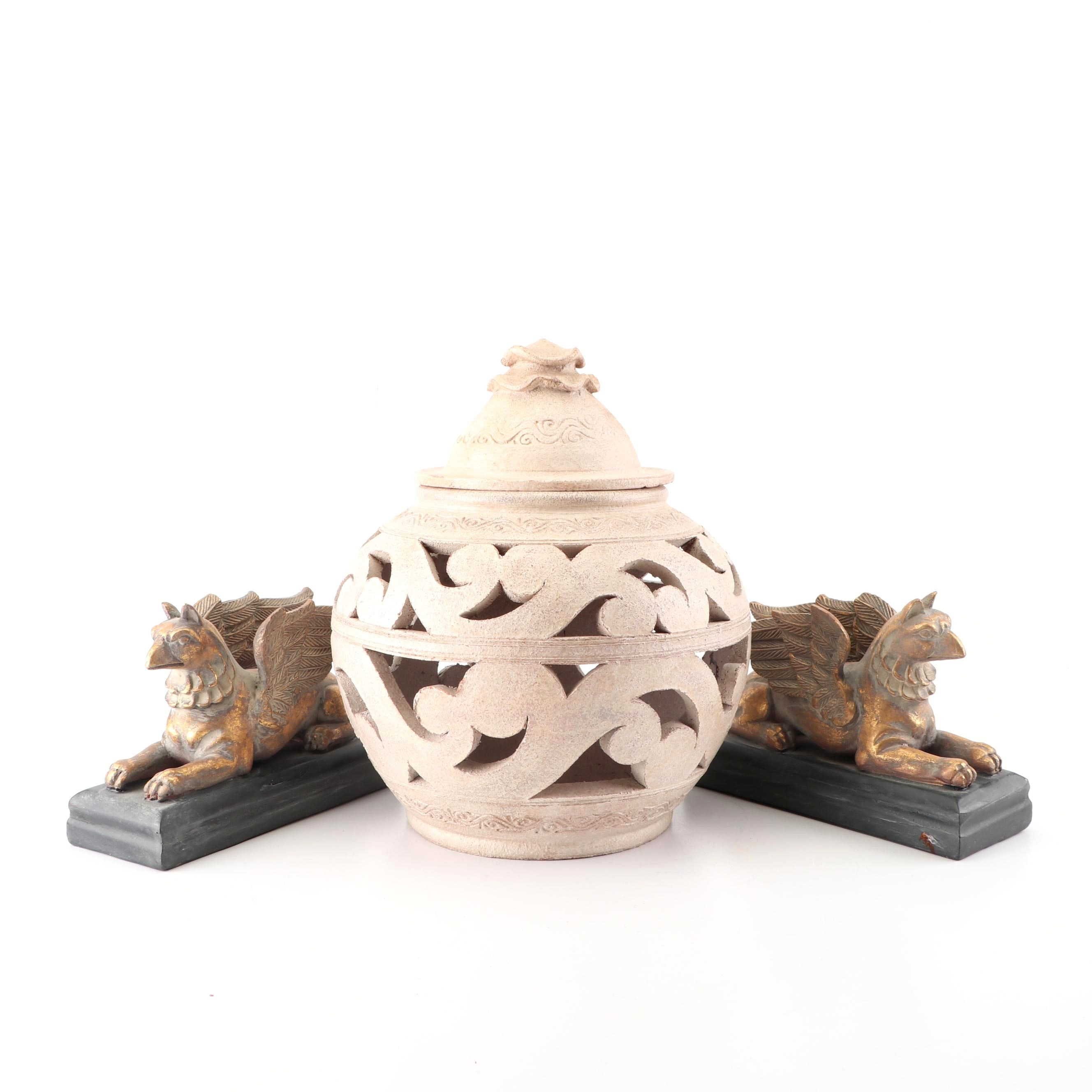 Reticulated Ceramic Jar and Griffin Figurines