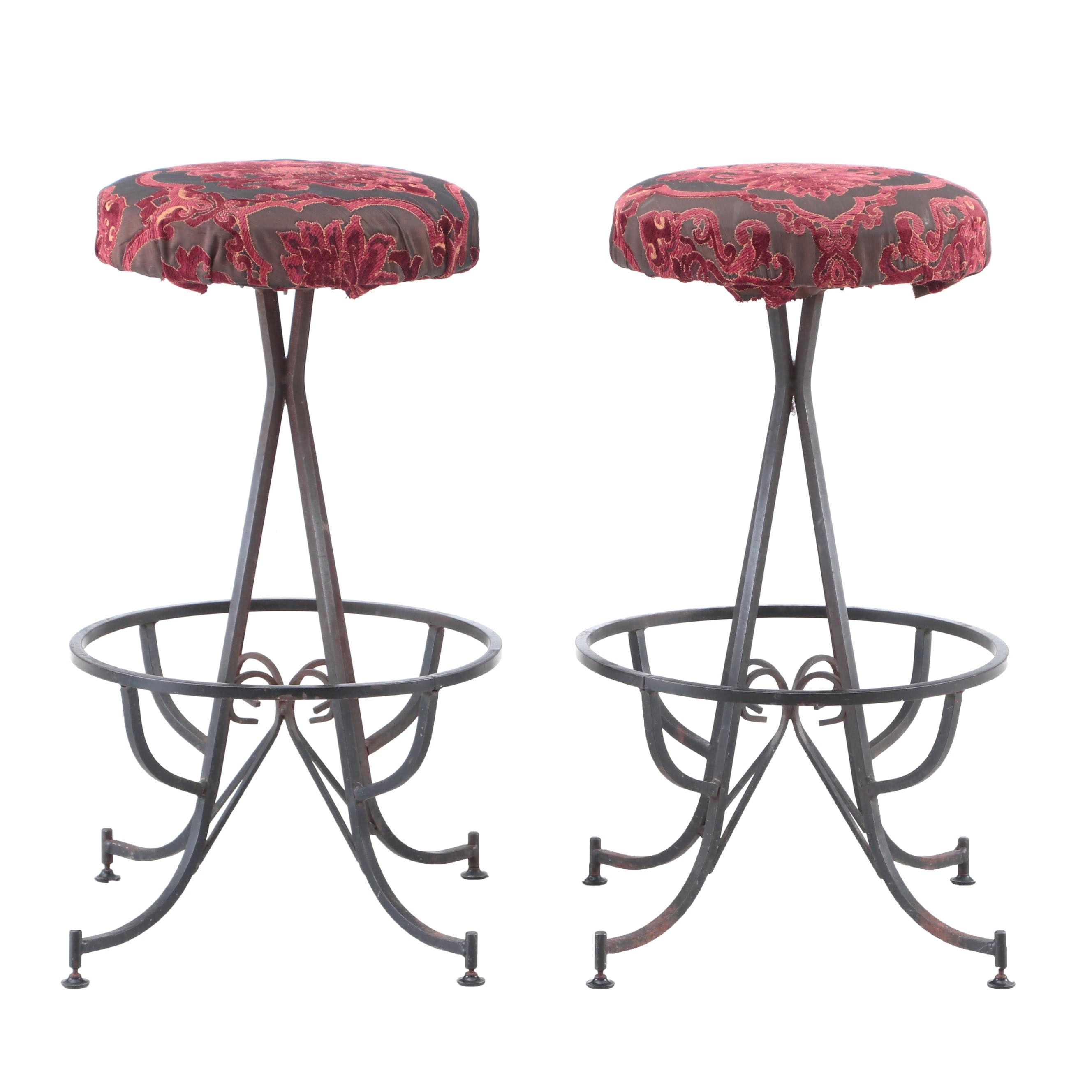 Wrought Iron Swivel Bar Stools with Brocade Upholstered Seats
