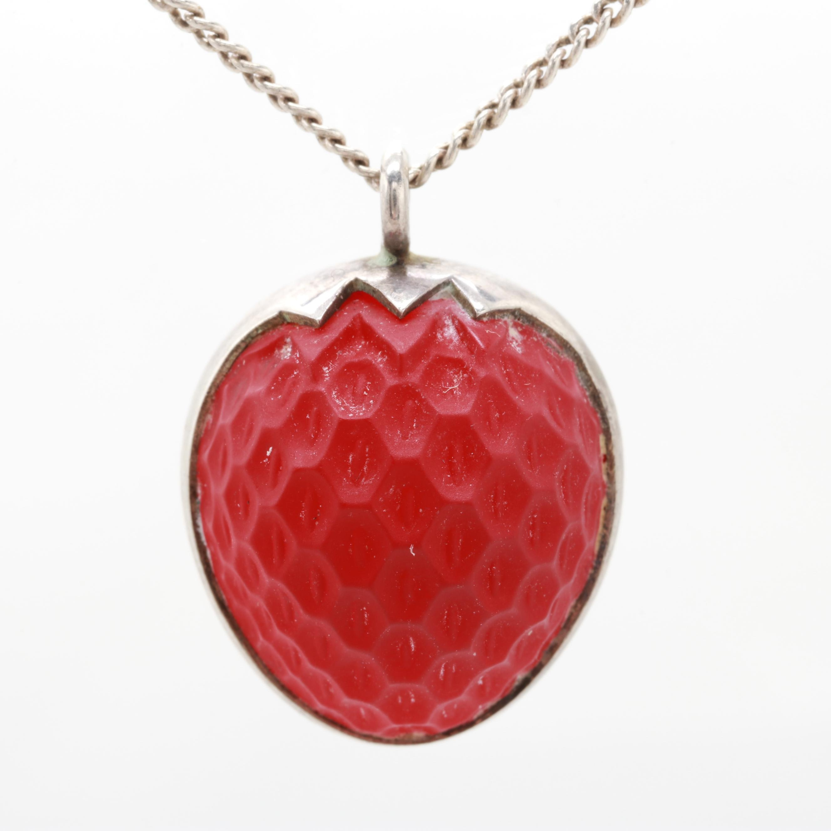 Sterling Silver Strawberry Glass Necklace
