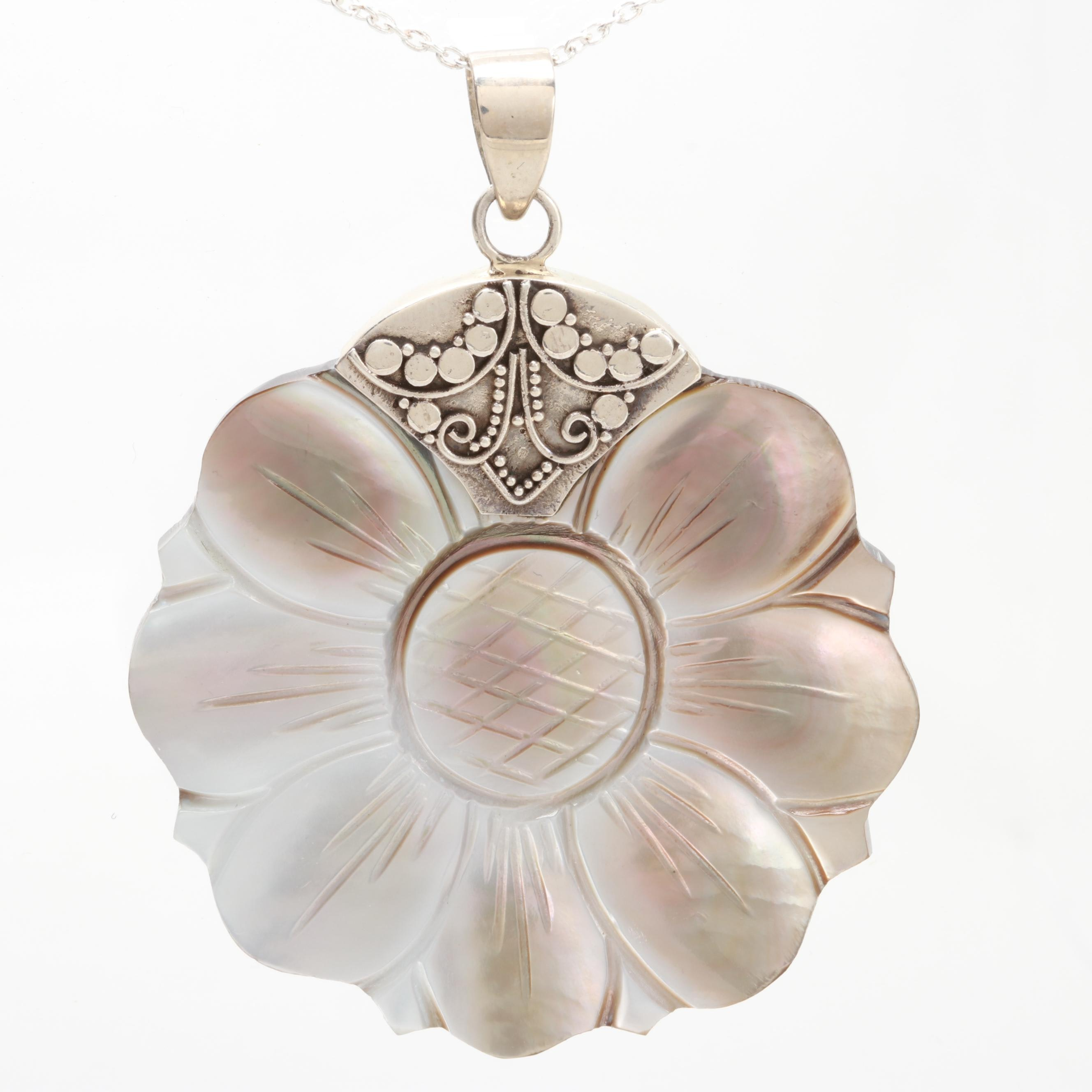 Sterling Silver Mother of Pearl Floral Carved Pendant Necklace