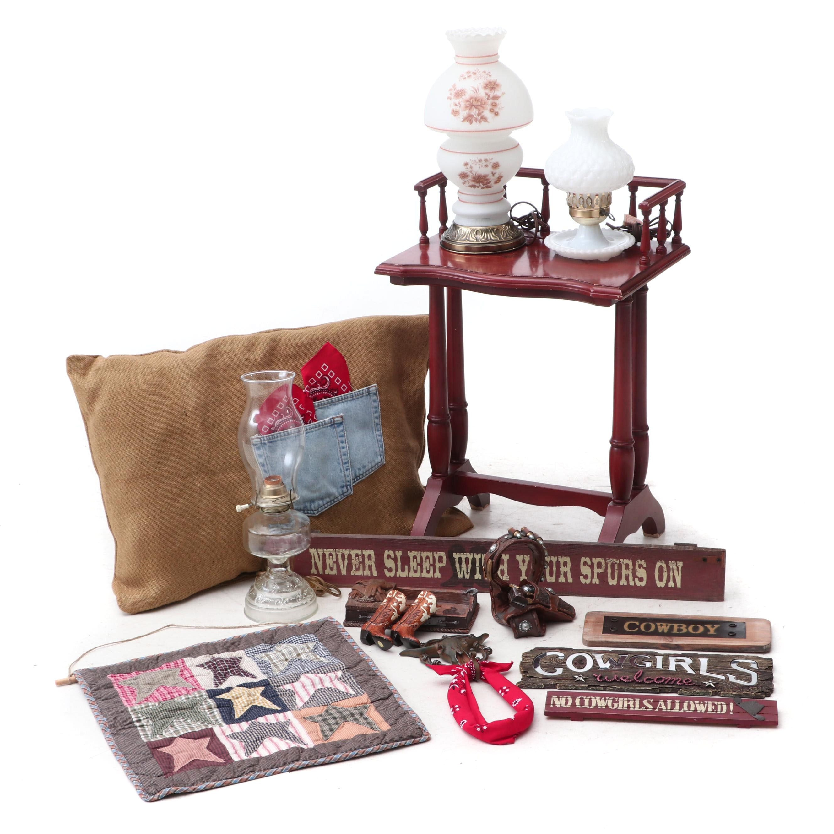 Western Style Decor, Hurricane Style Lamps and Accent Table
