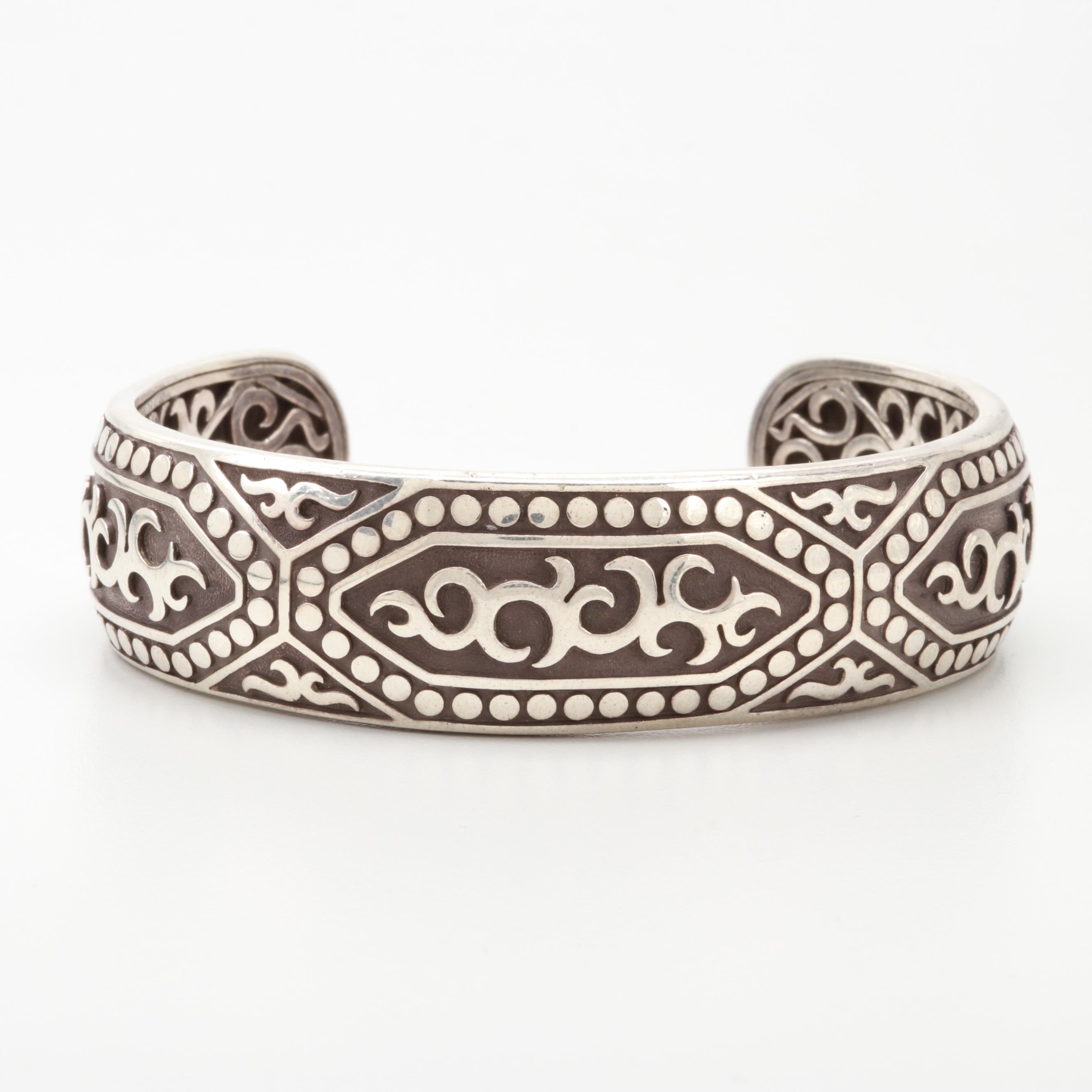 John Hardy Sterling Silver Scrolll and Dot Overlay Cuff Bracelet