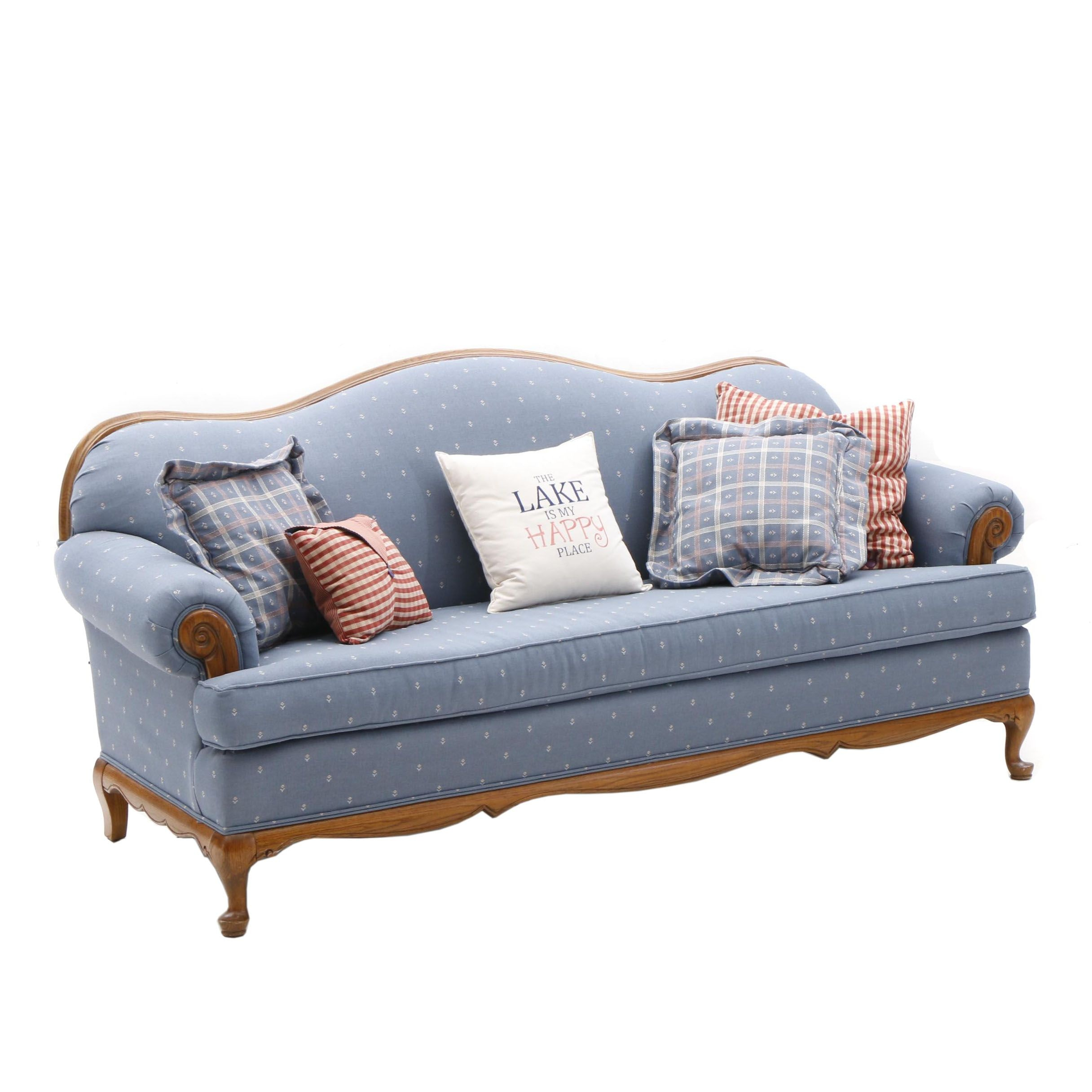 Camelback Upholstered Sofa by Broyhill in Blue with Accent Pillows