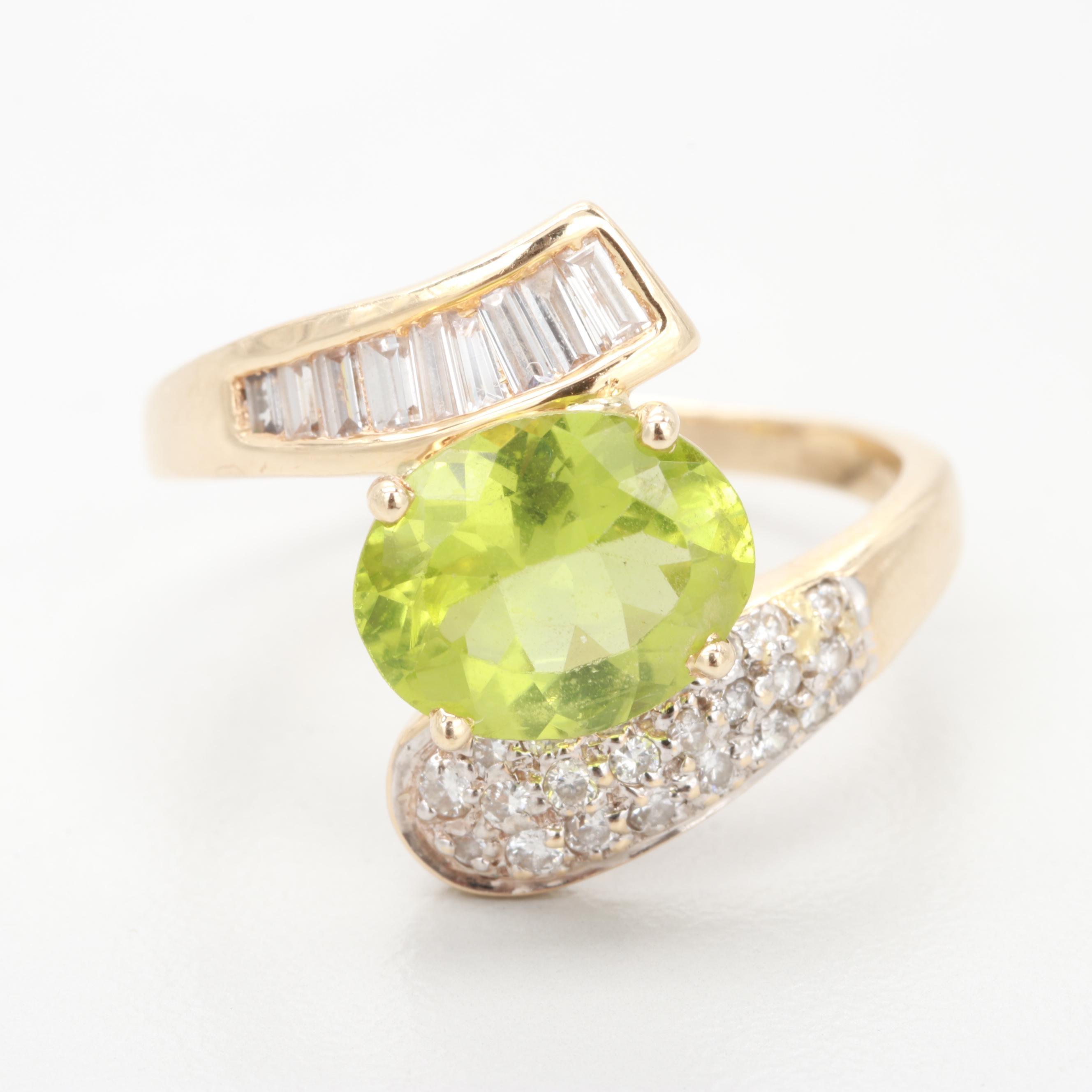 14K Yellow Gold Peridot and Diamond Bypass Ring