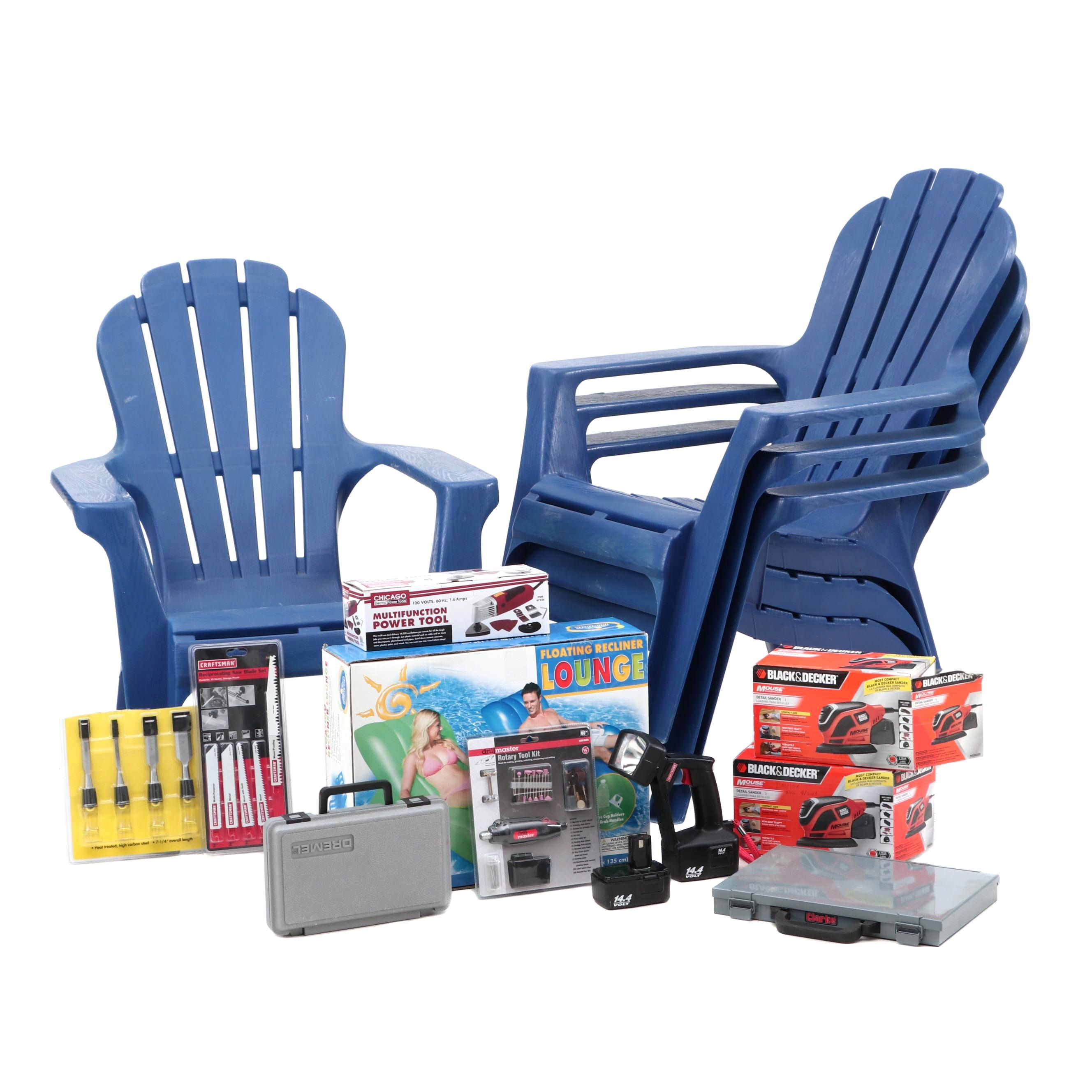 Plastic Adironack Chairs, Pool Float and Assorted Tools Including Black & Decker