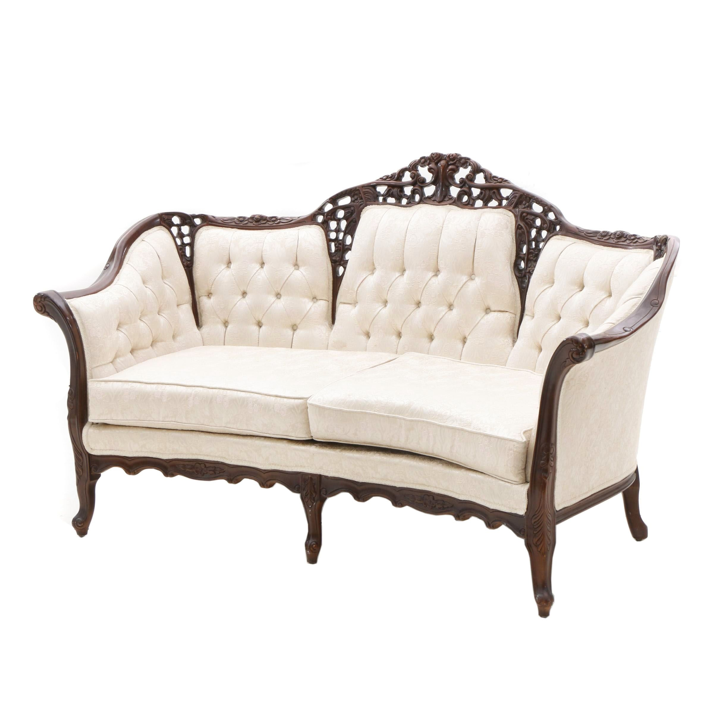 Carved Pecan Sofa by Kimball