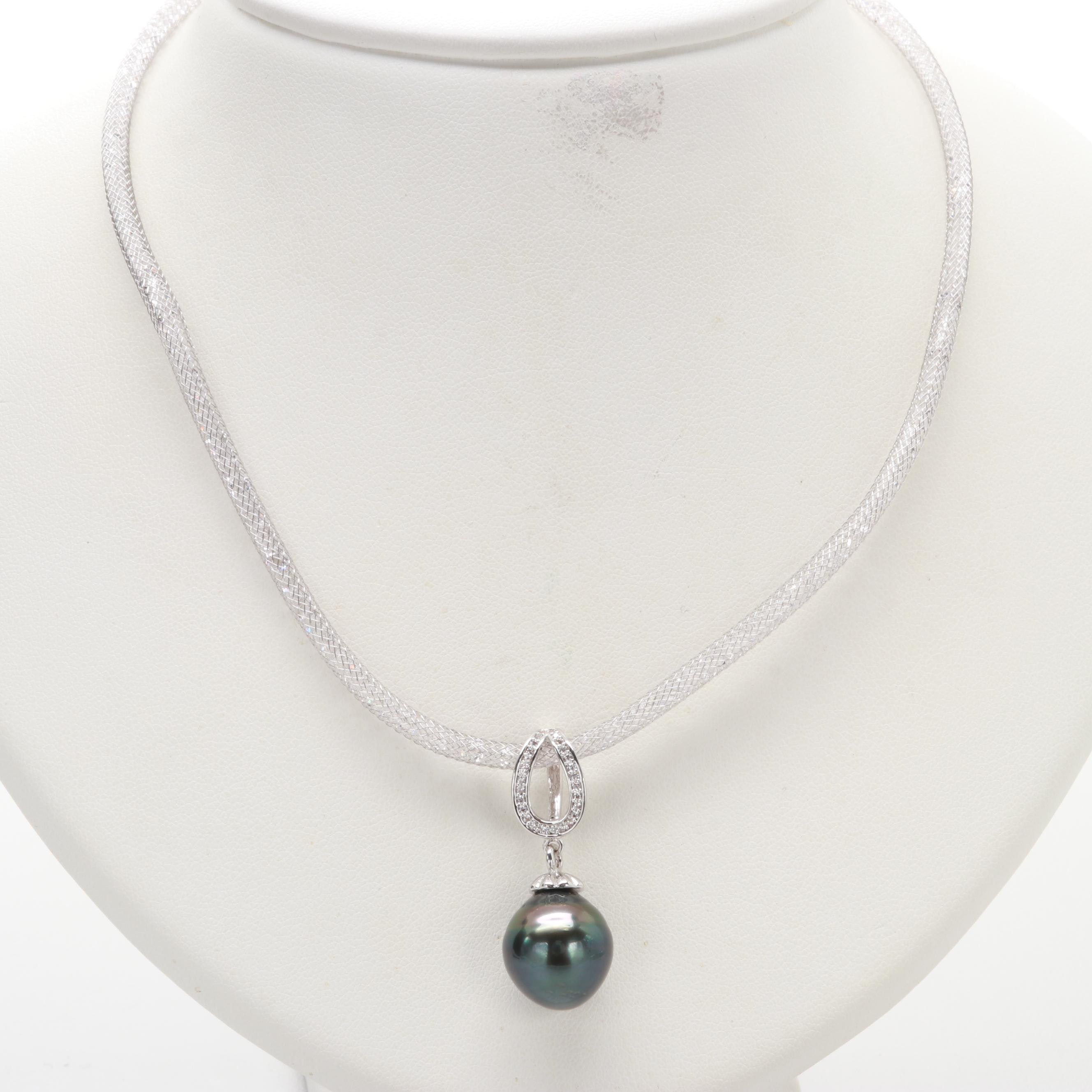 Silver Tone Cultured Pearl and Cubic Zirconia Pendant Necklace