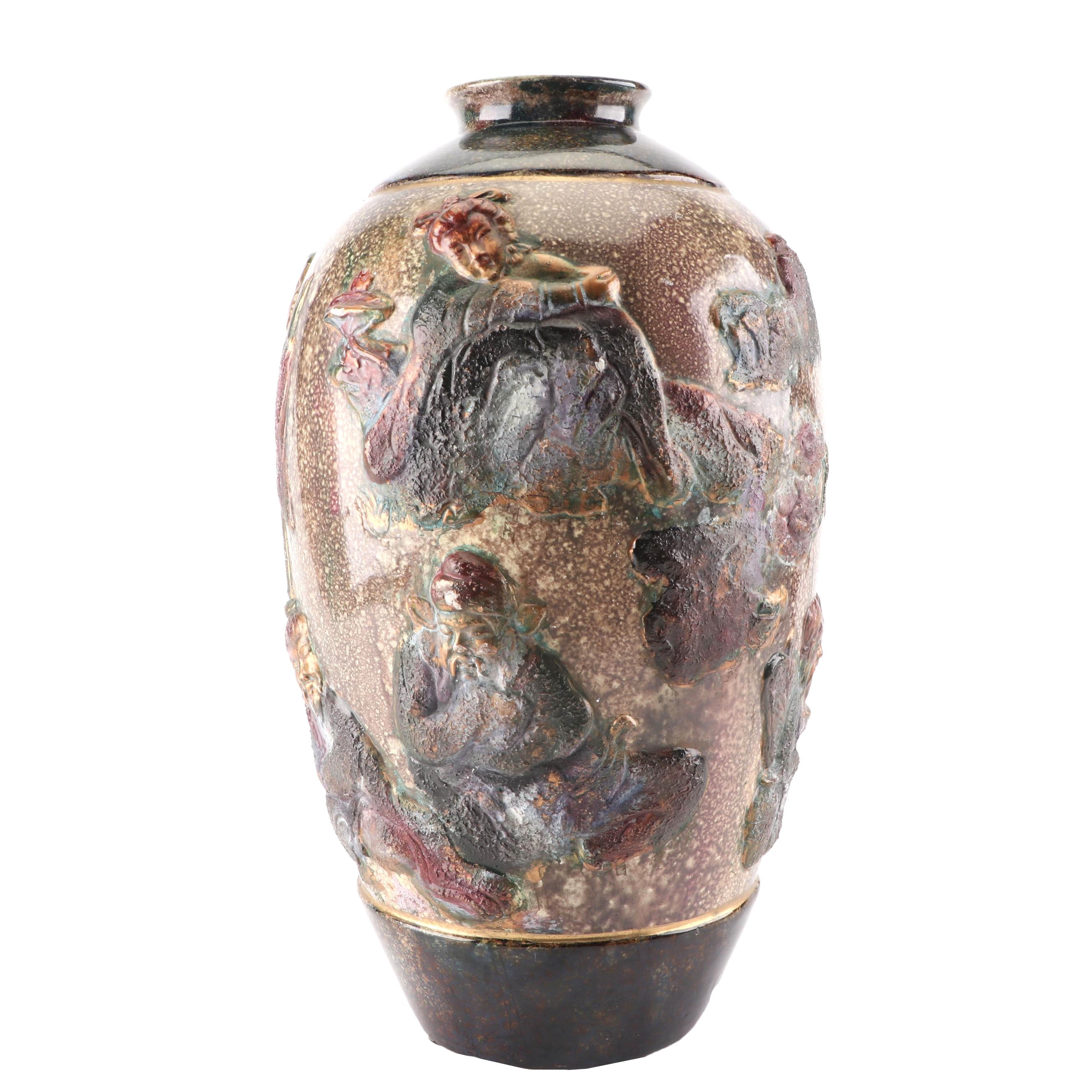 East Asian Vase with Figures in Relief