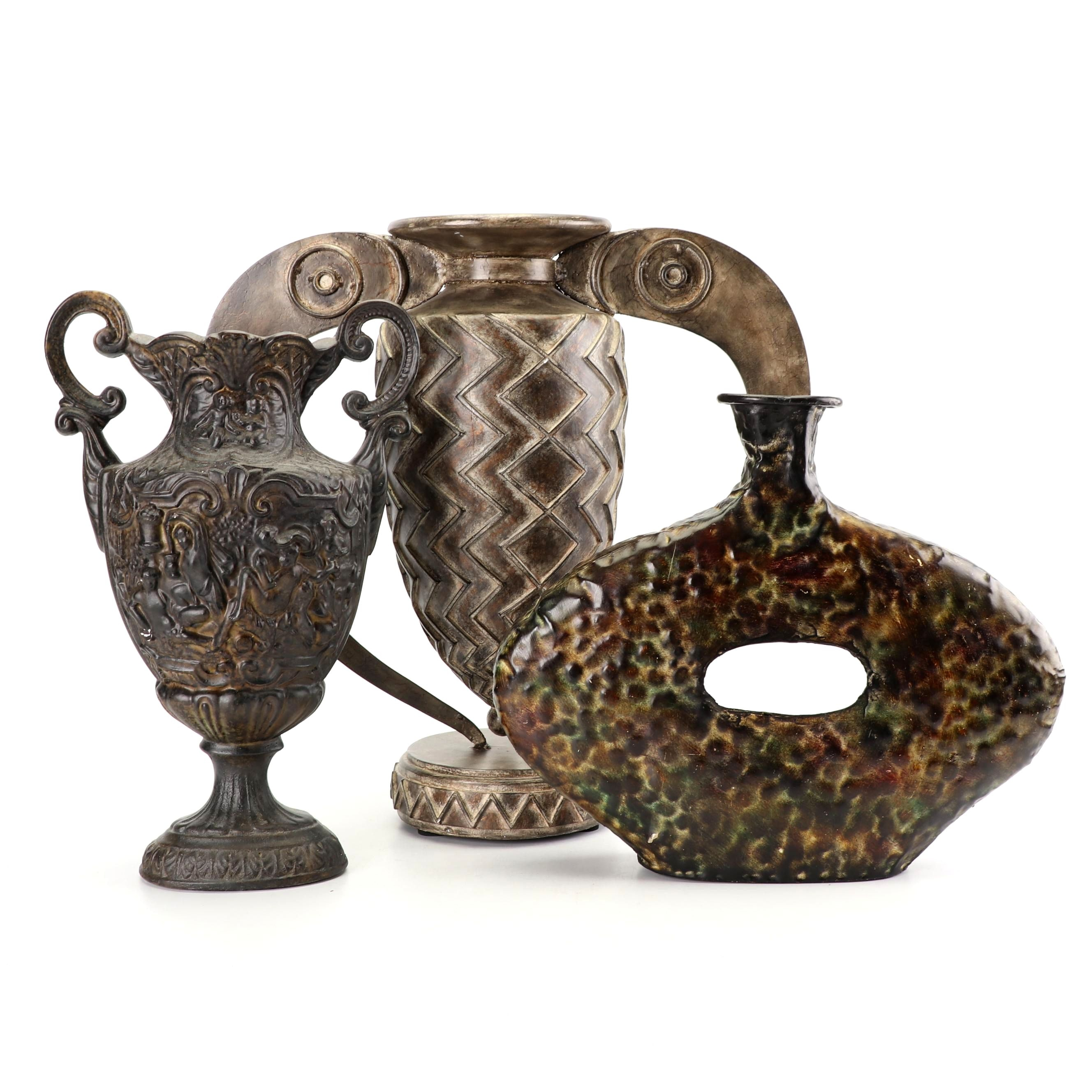Decorative Metal and Resin Vases