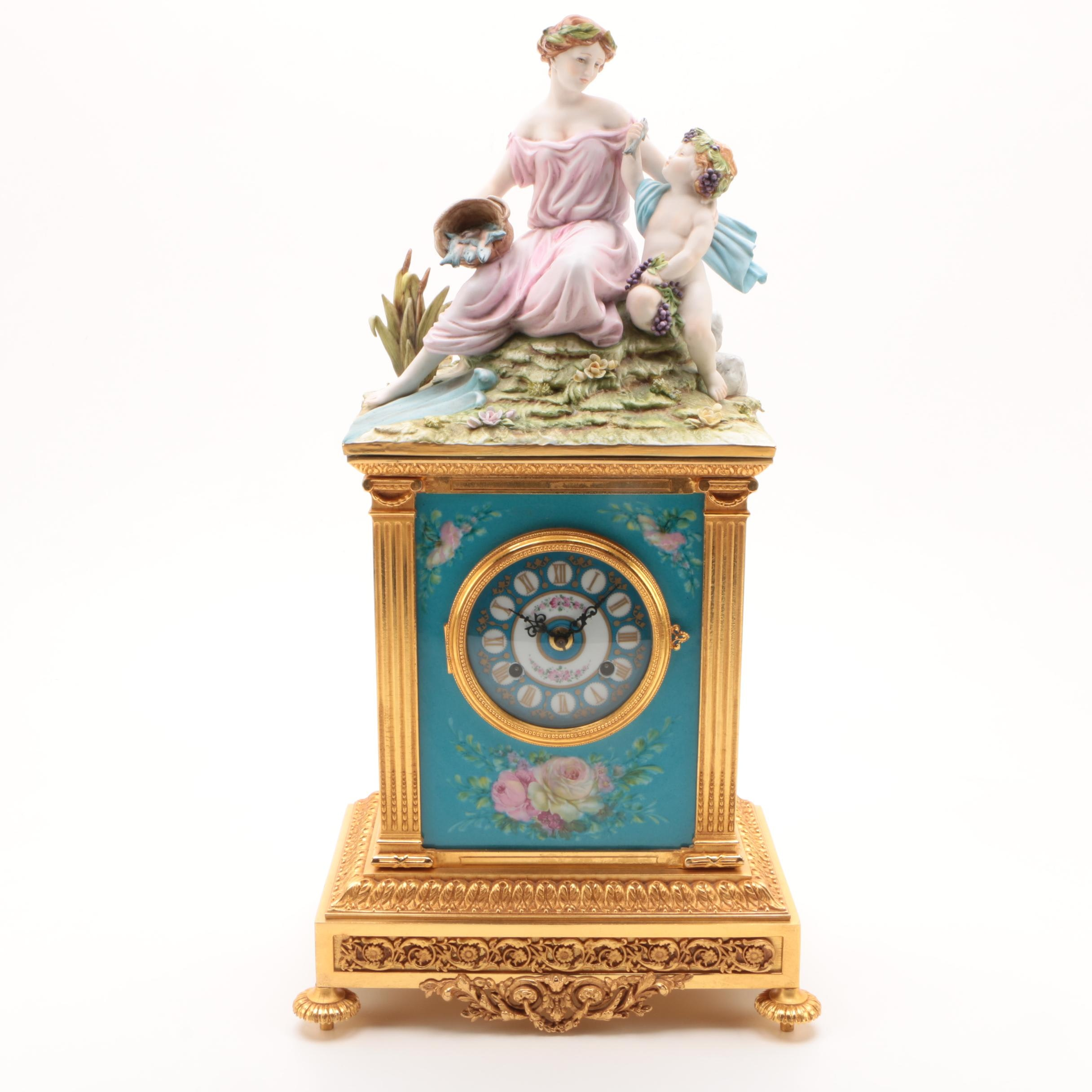 "Tiche ""Arcadia"" Gilt Metal Mantel Clock with Porcelain Mythical Scene"