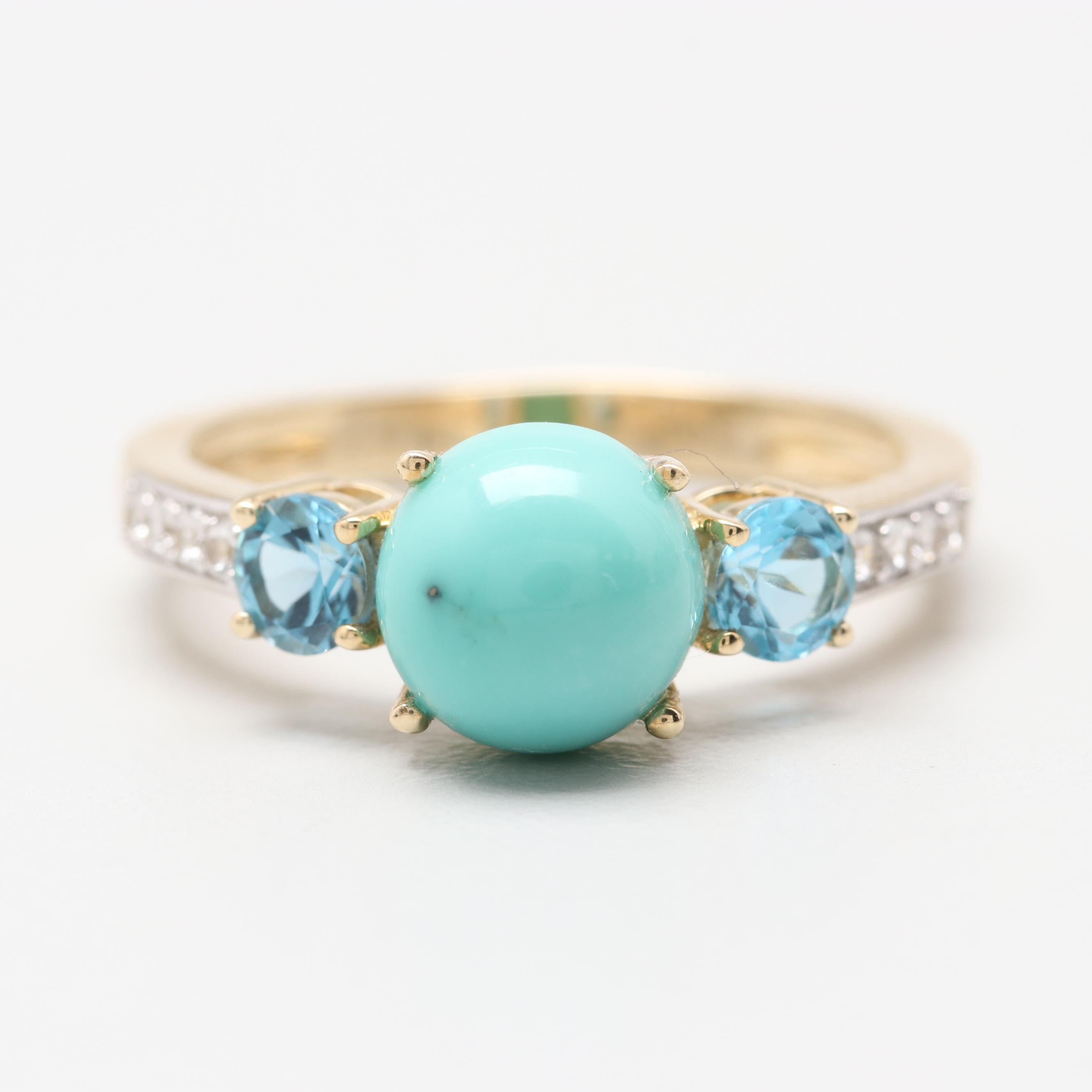 10K Yellow Gold Turquoise, Blue Topaz and White Topaz Ring