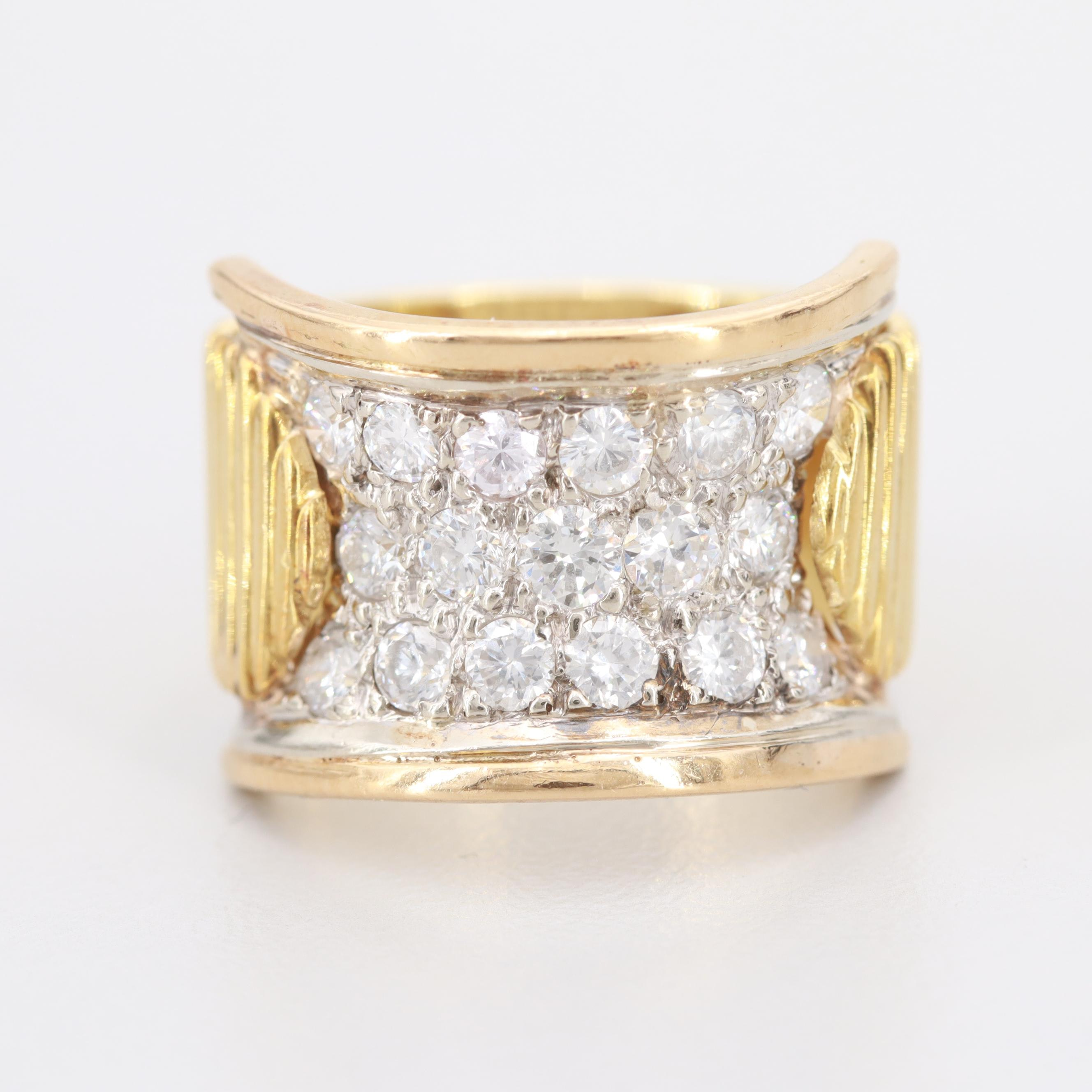 Circa 1970s 18K Yellow Gold 1.03 CTW Diamond Ring