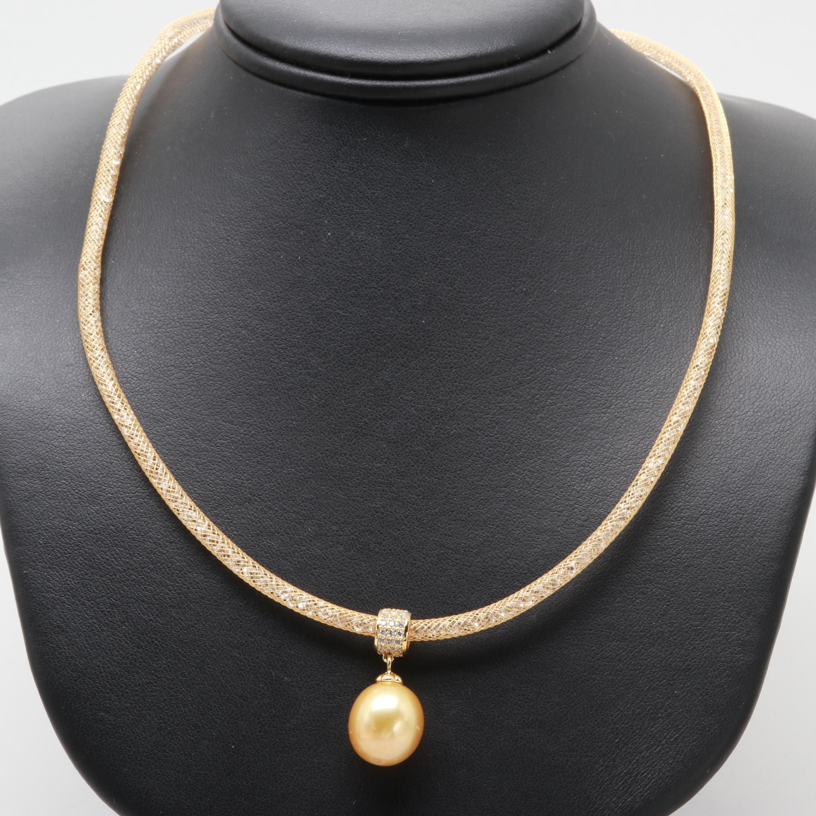 Gold Tone Cultured Pearl and Cubic Zirconia Necklace