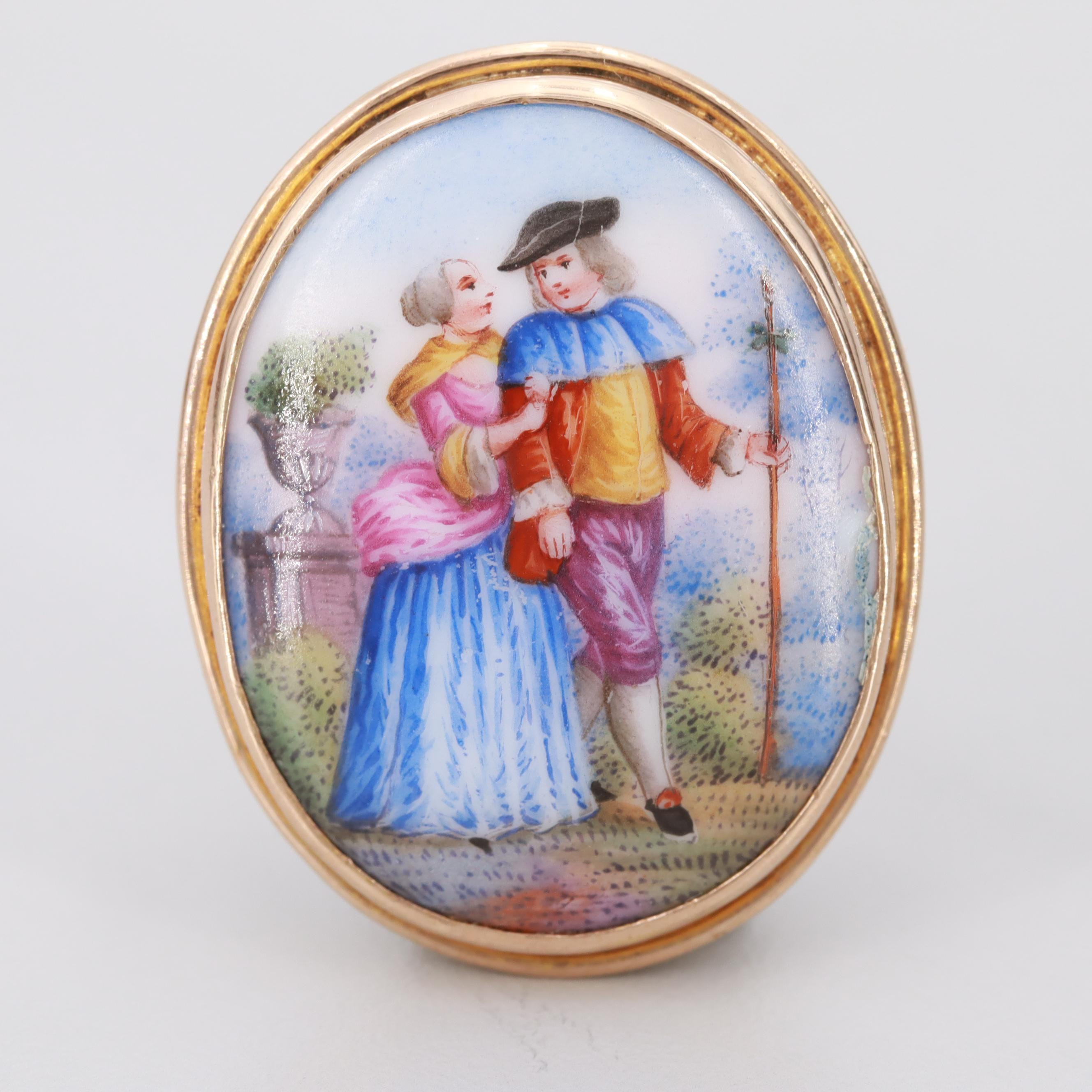 Vintage 10K Yellow Gold Porcelain Courting Couple Brooch