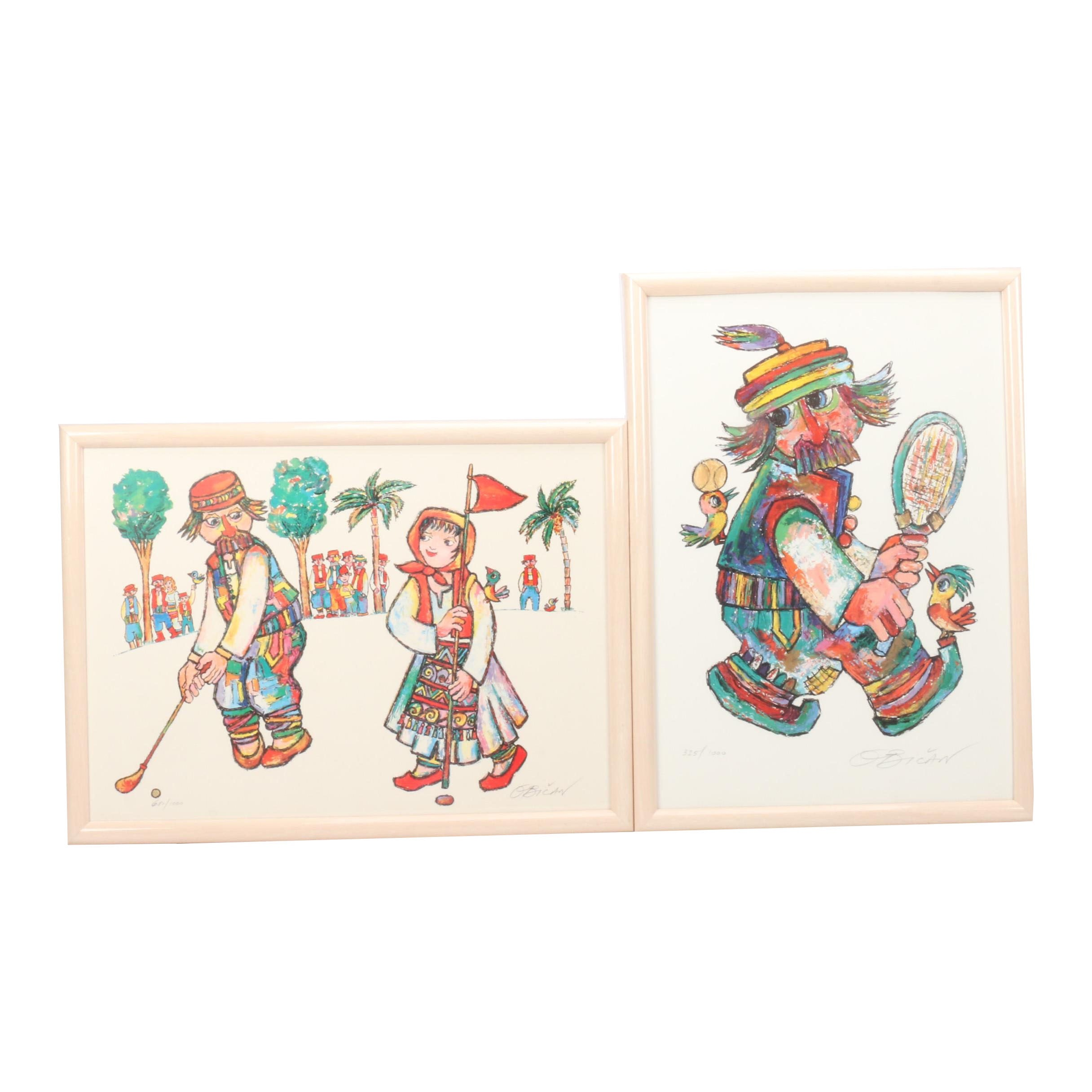 Pair of Jovan Obican Limited Edition Offset Lithographs