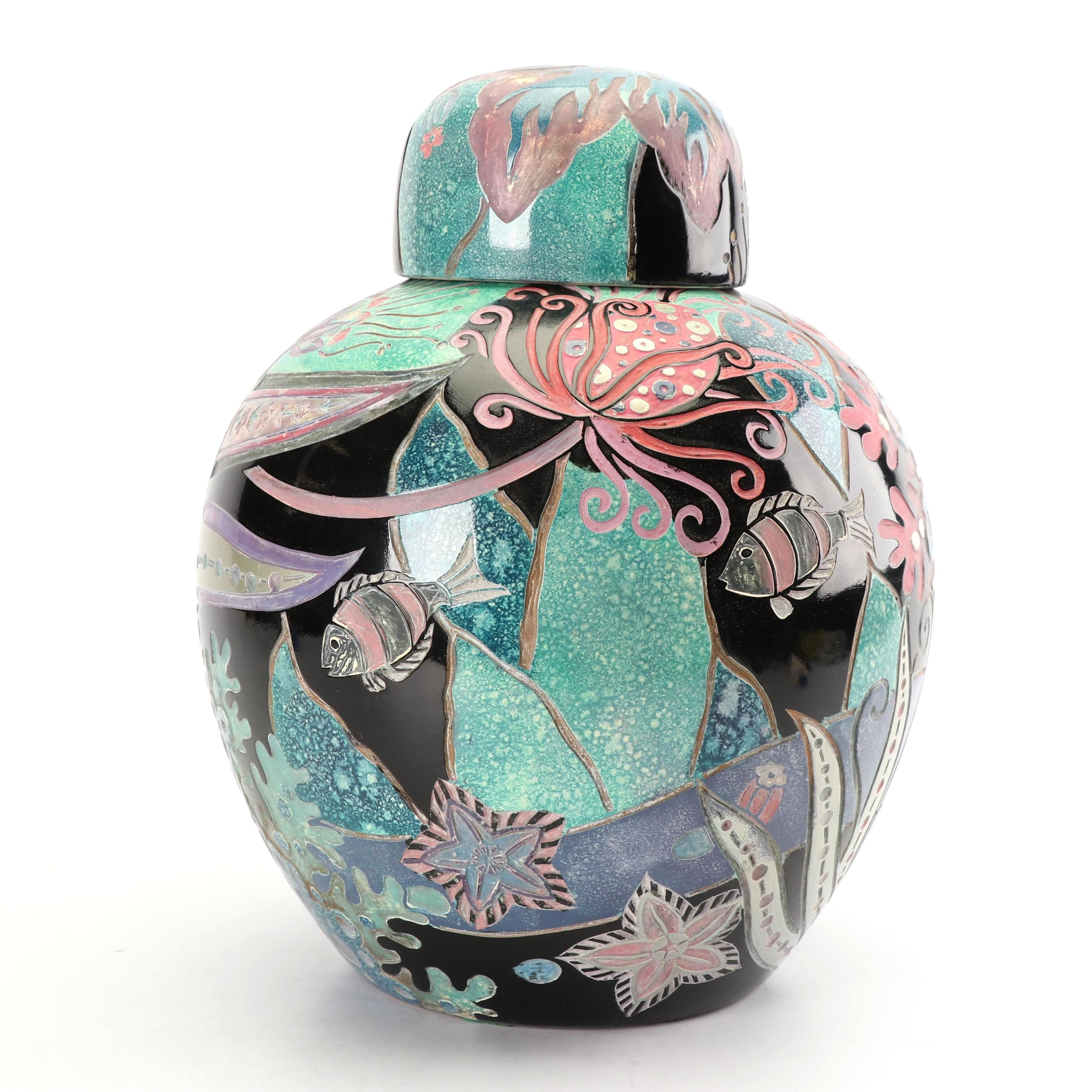 Chinese Hand-Painted Ocean Themed Porcelain Ginger Jar