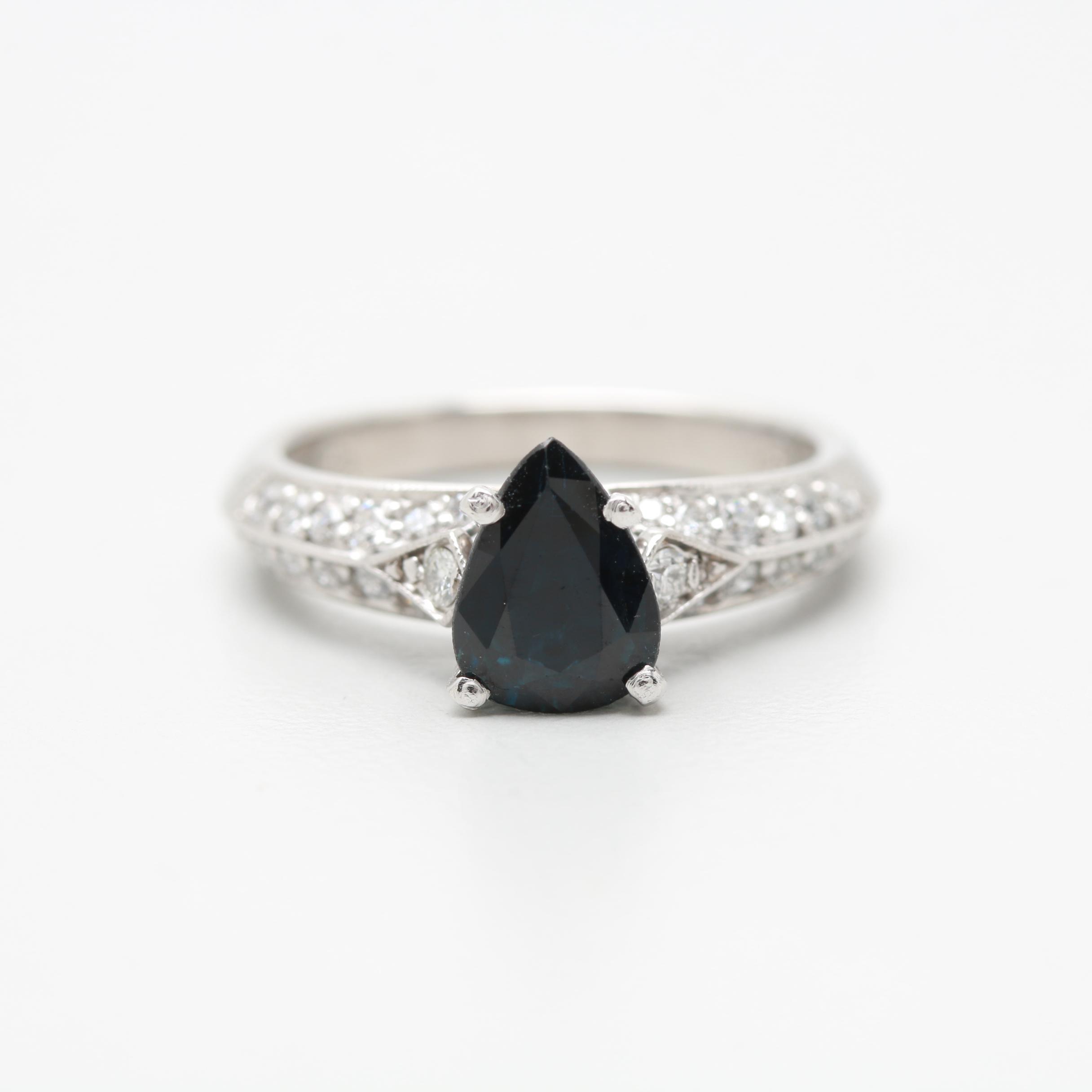 18K White Gold and Platinum 1.34 CT Sapphire and Diamond Ring