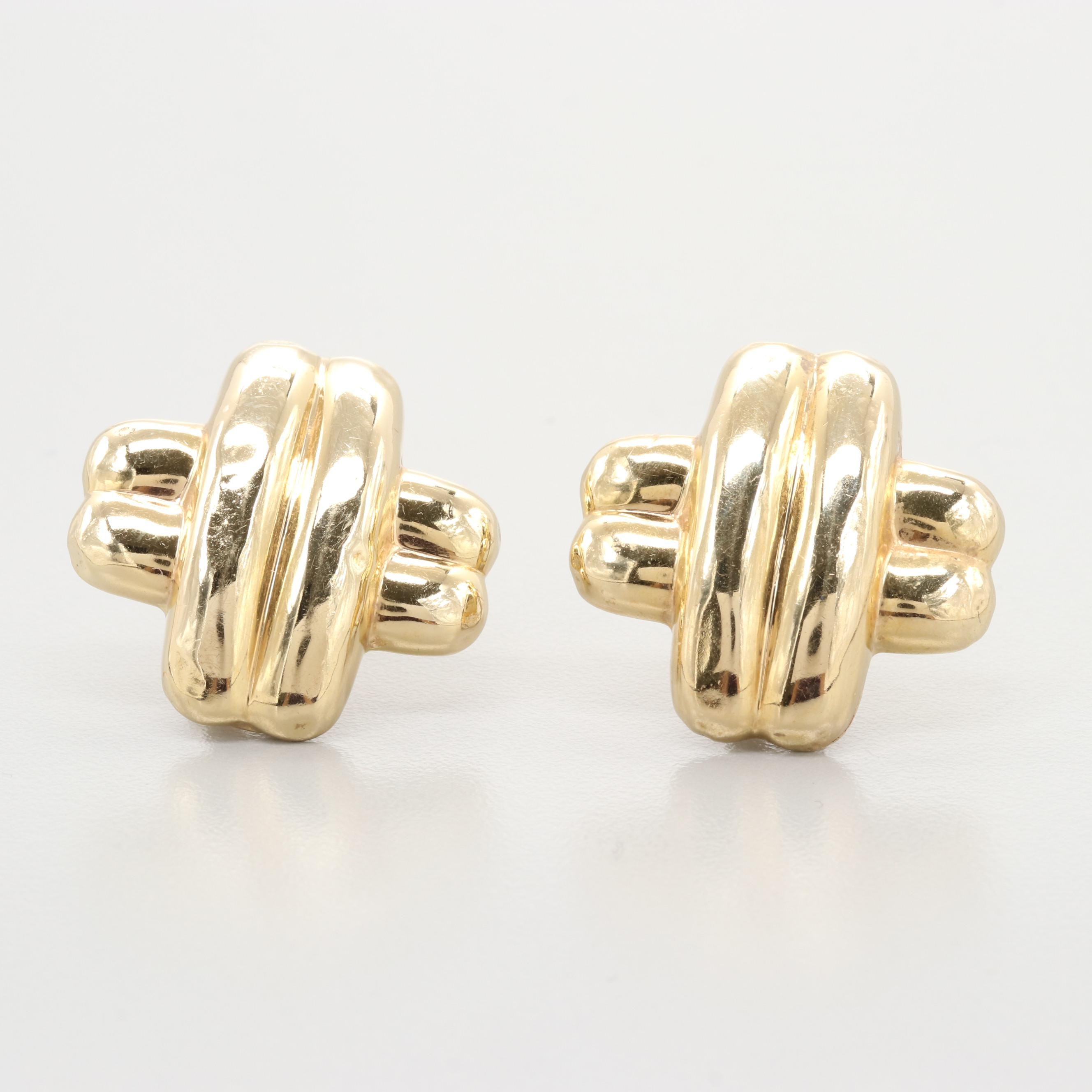 14K Yellow Gold Earrings with Omega Backs