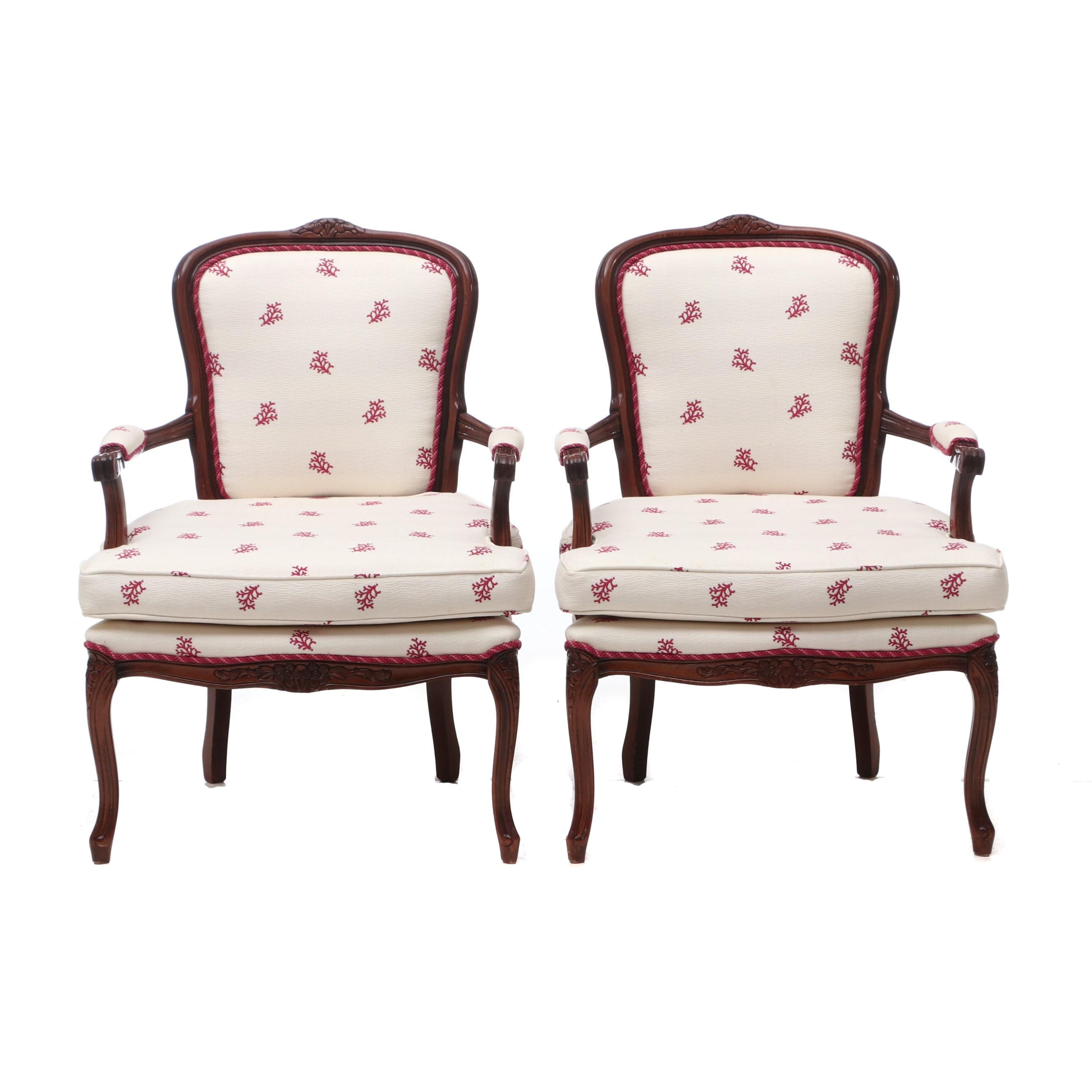 Louis XV Style Upholstered Arm Chairs in Walnut