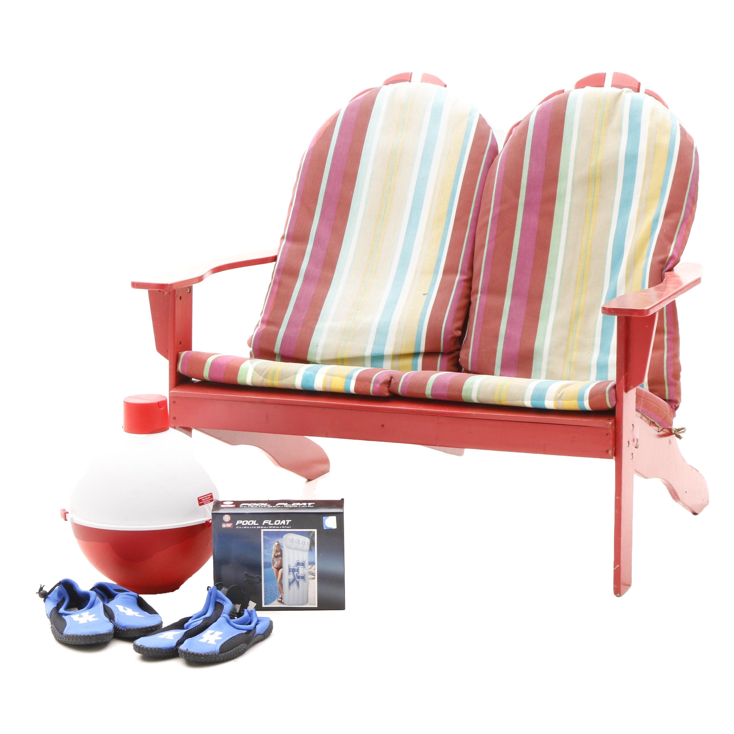 Adirondack Style Bench, Big Bobber Floating Cooler and UK Collectibles