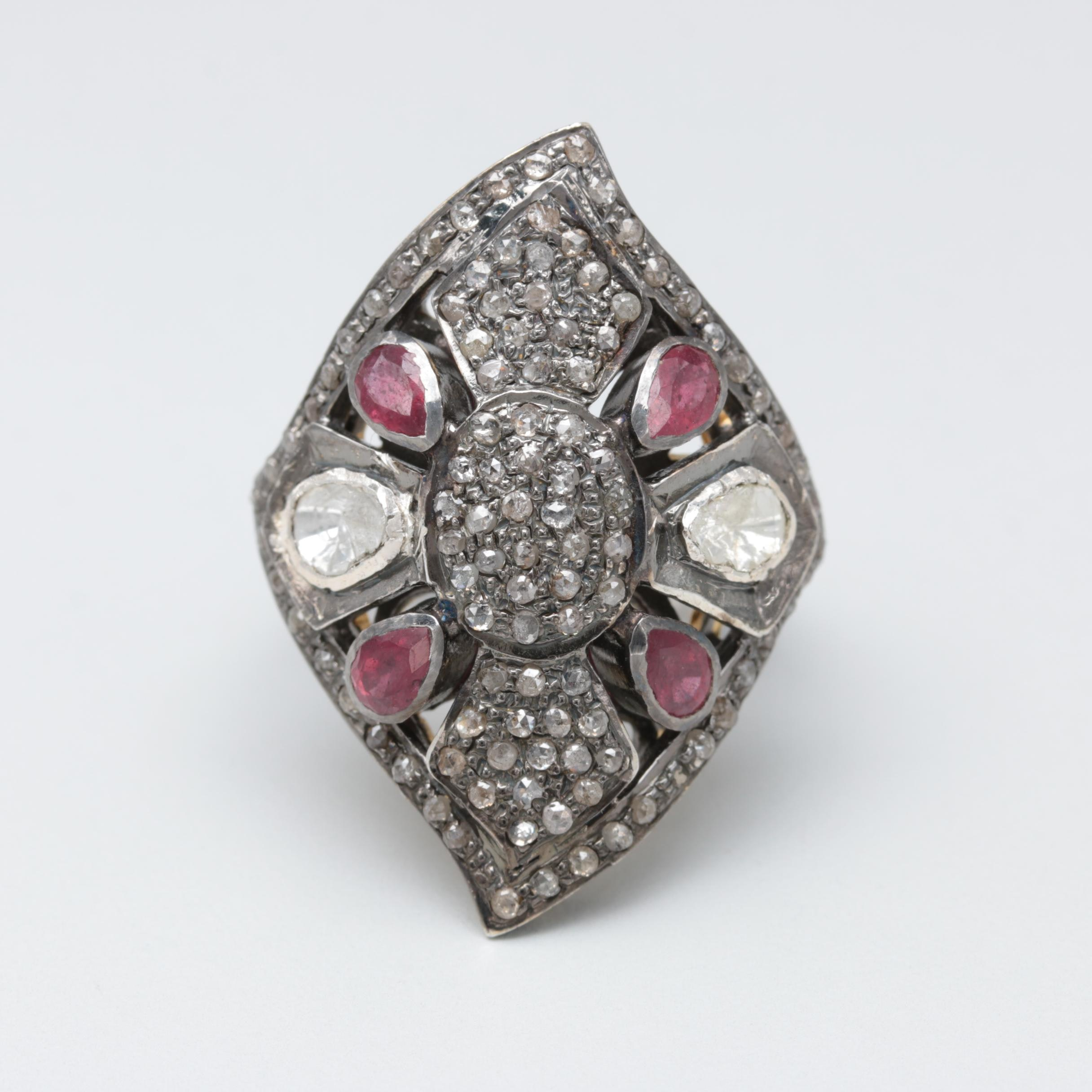 Sterling Sliver Ruby and Diamond Ring With Gold Wash Accents