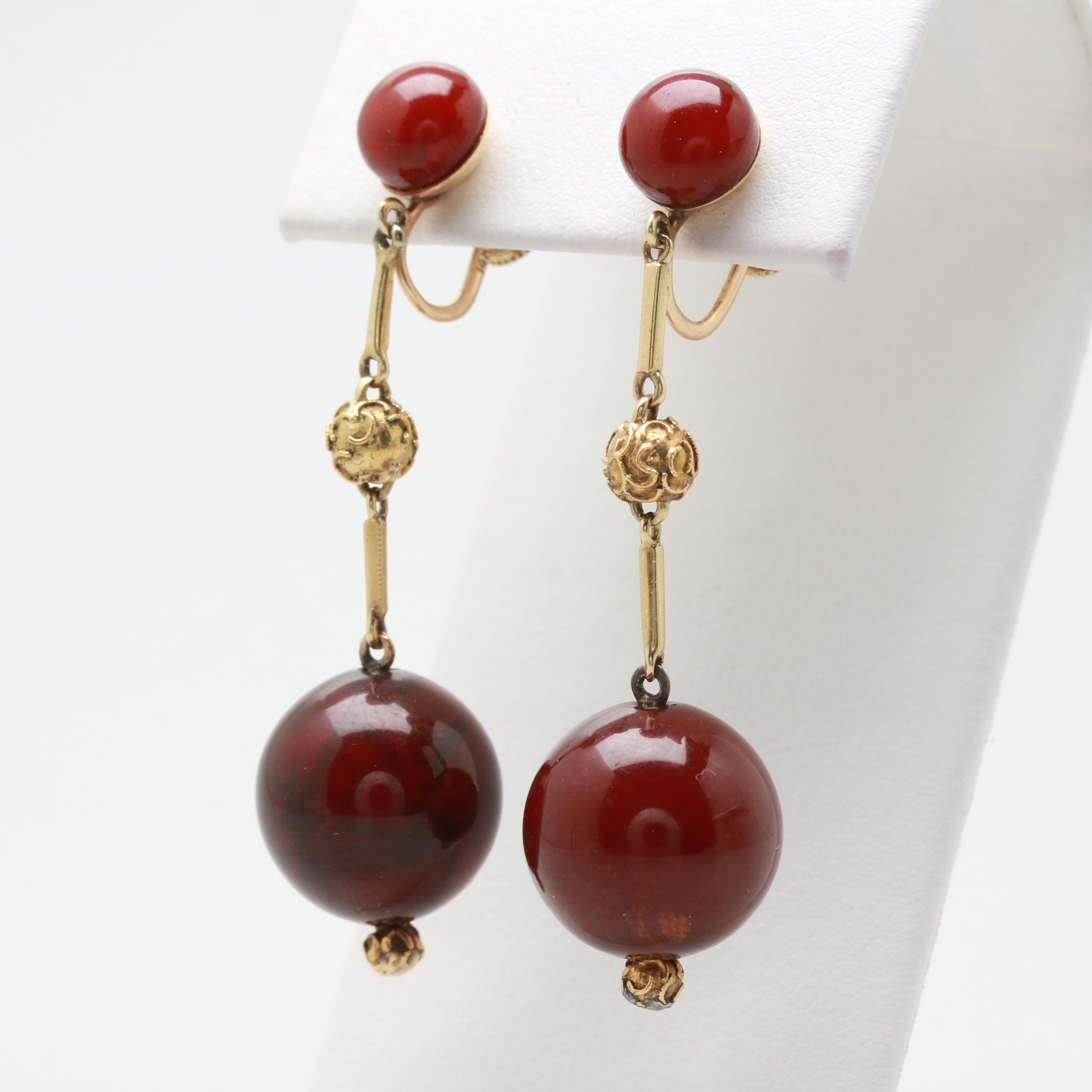 14K Yellow Gold Resin Dangle Earrings