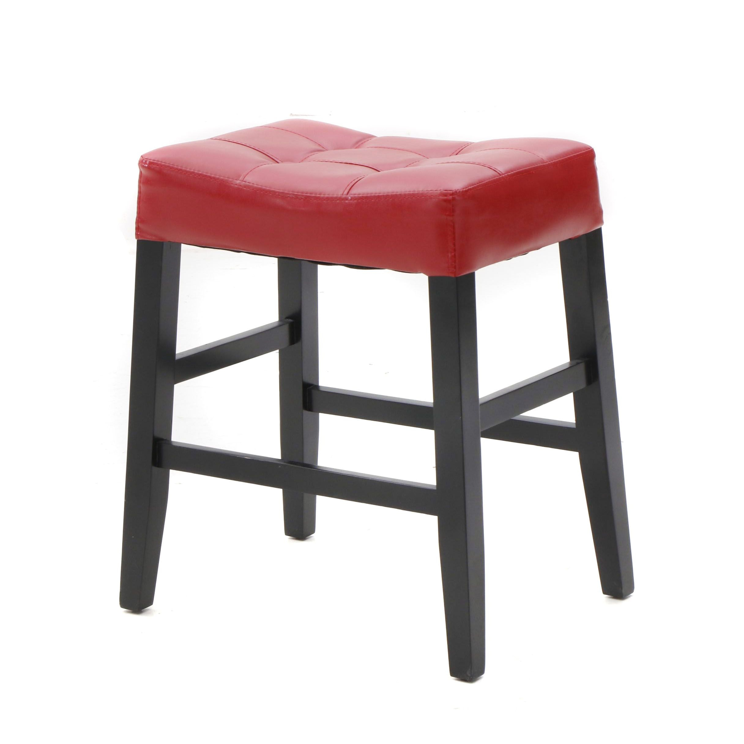 At Home Upholstered Bar Stool in Red