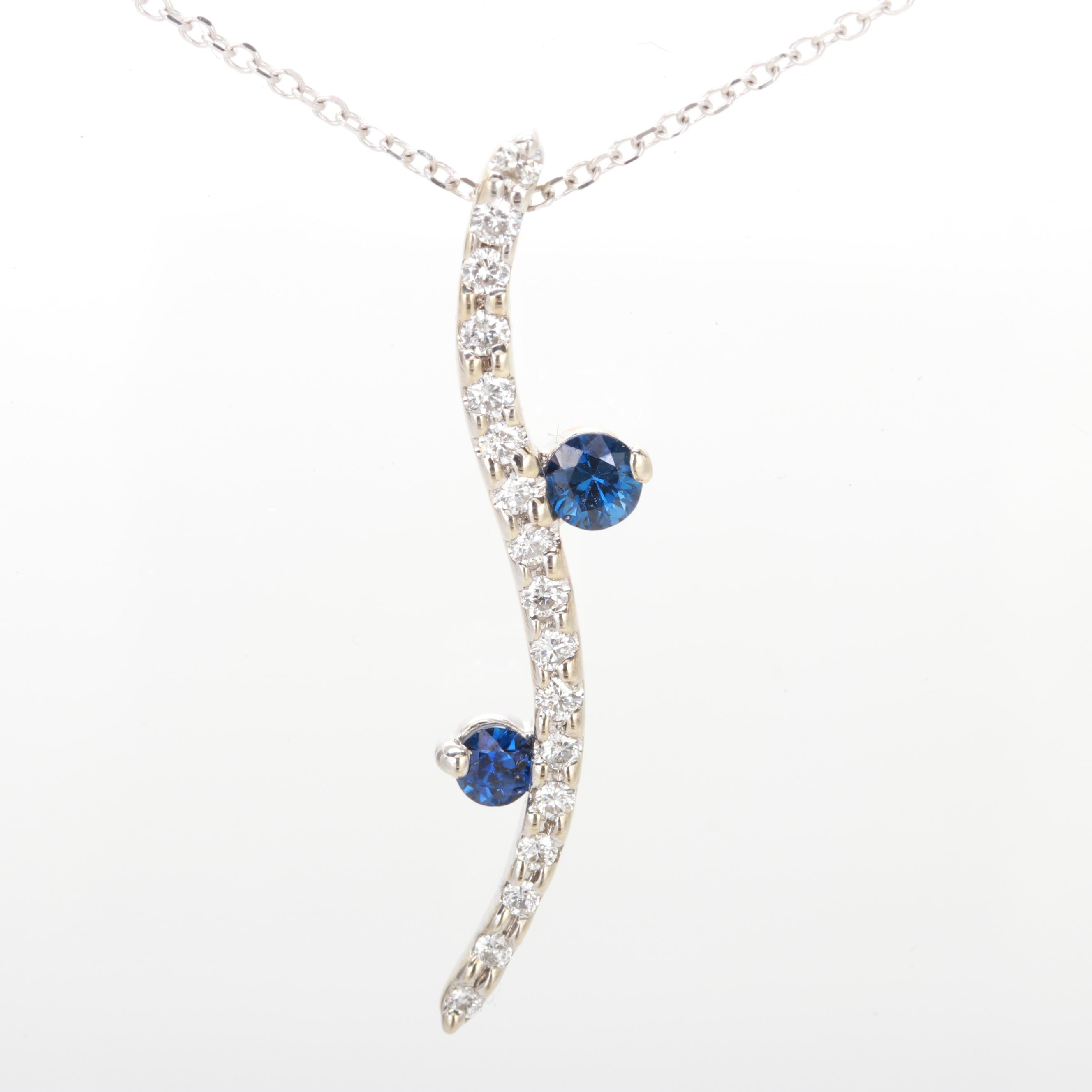 14K White Gold Diamond and Blue Sapphire Necklace