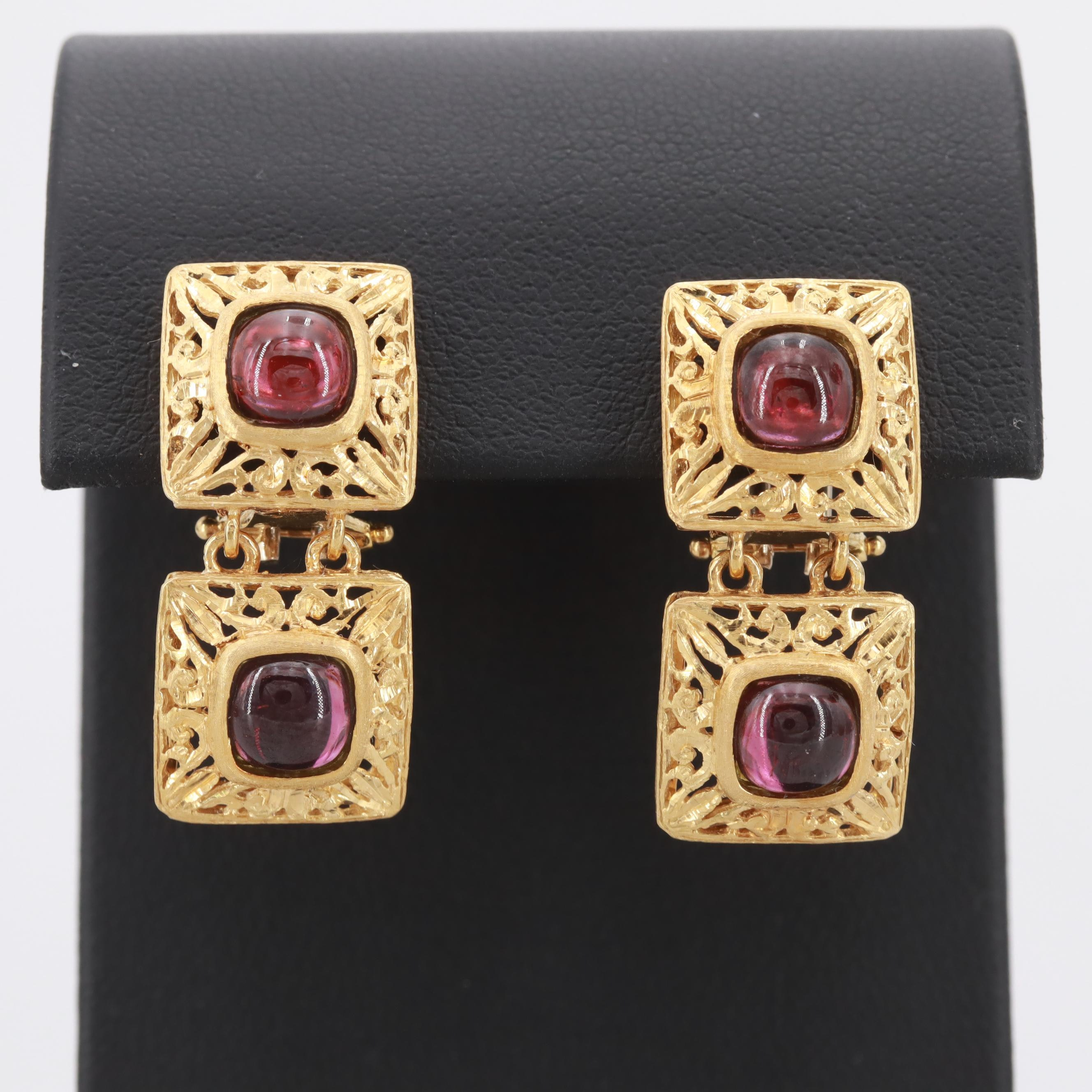 18K Yellow Gold Garnet Hinged Earrings
