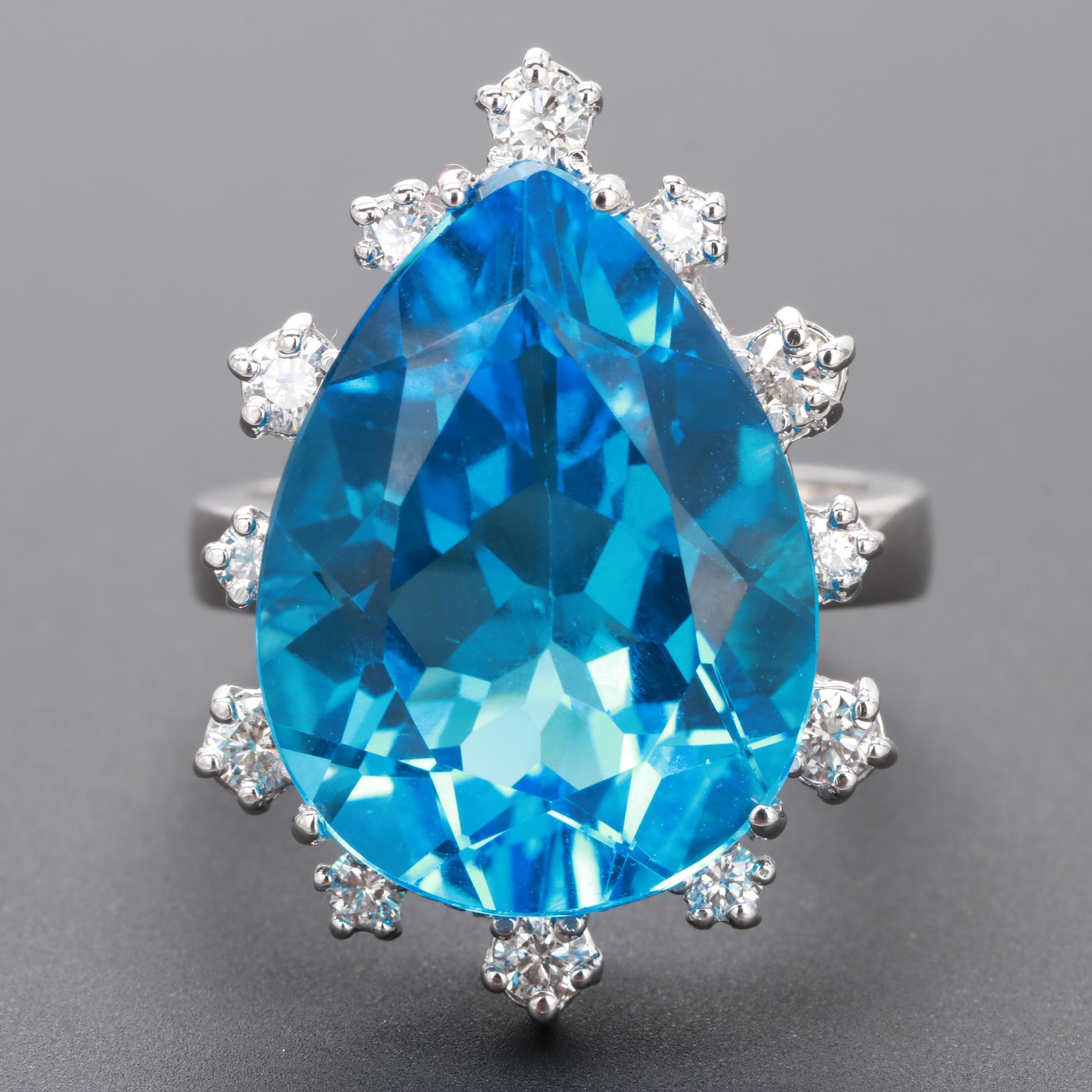 14K White Gold 16.41 CT Blue Topaz and Diamond Ring