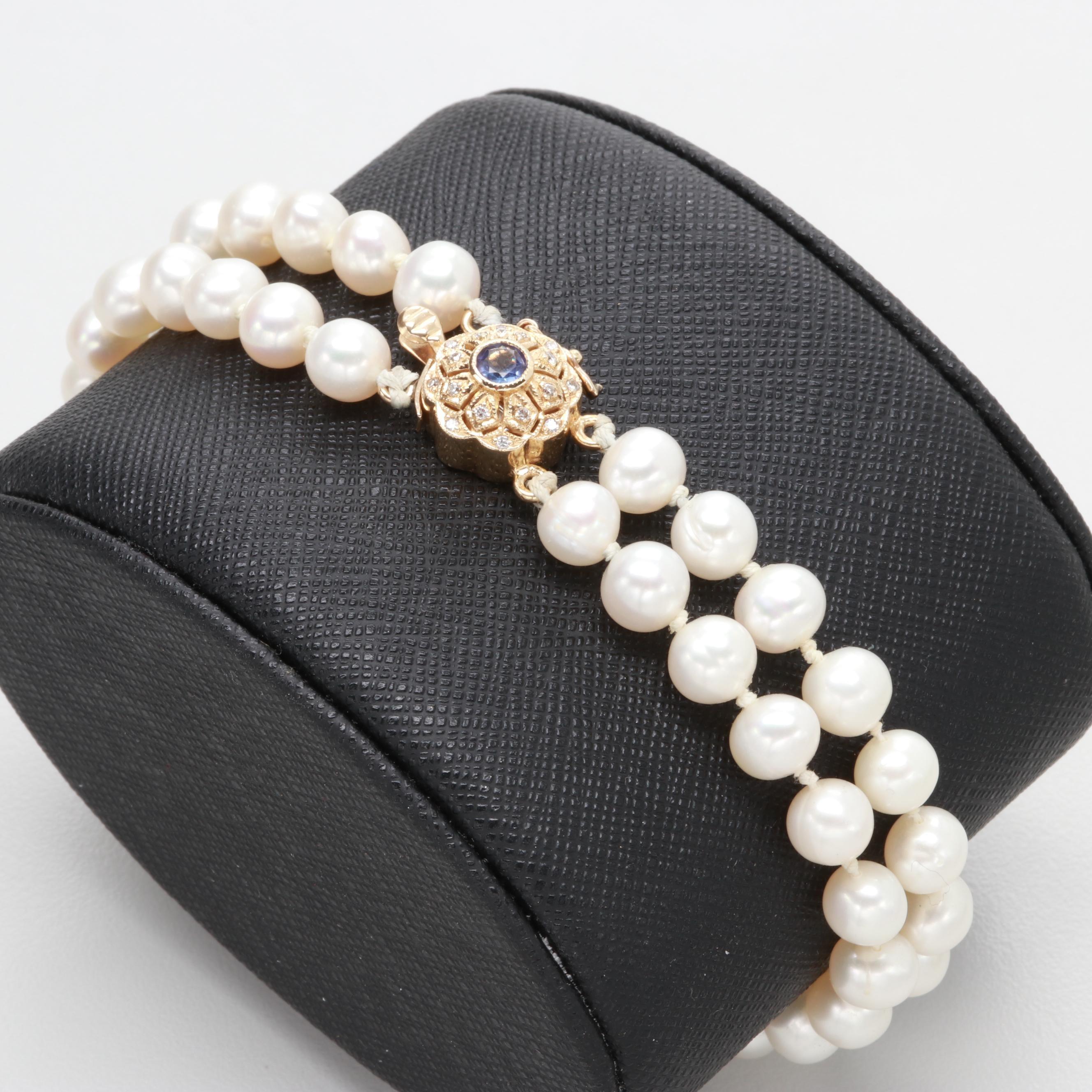 14K Yellow Gold Tanzanite, Diamond and Cultured Pearl Bracelet