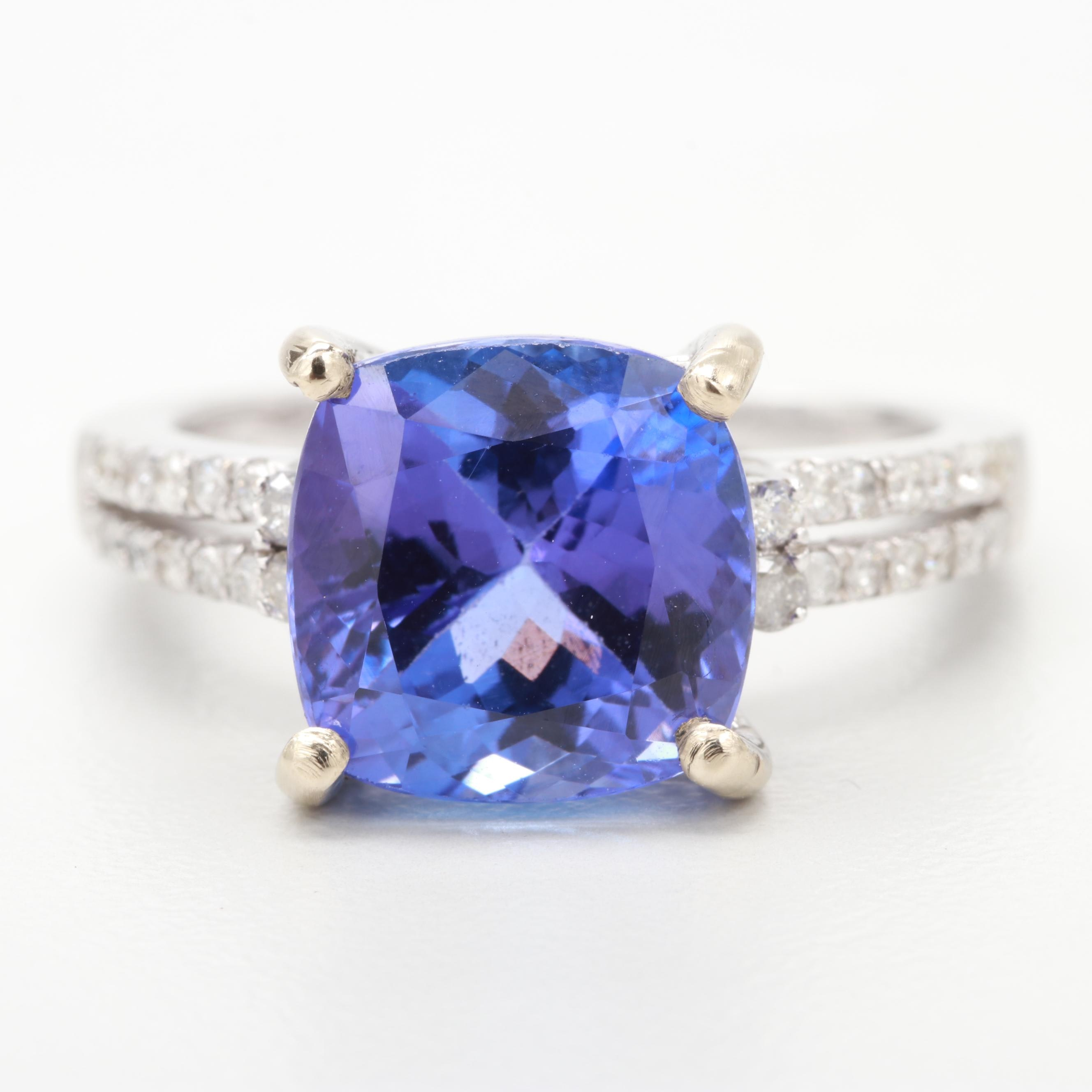 14K White Gold 4.16 CT Tanzanite and Diamond Ring