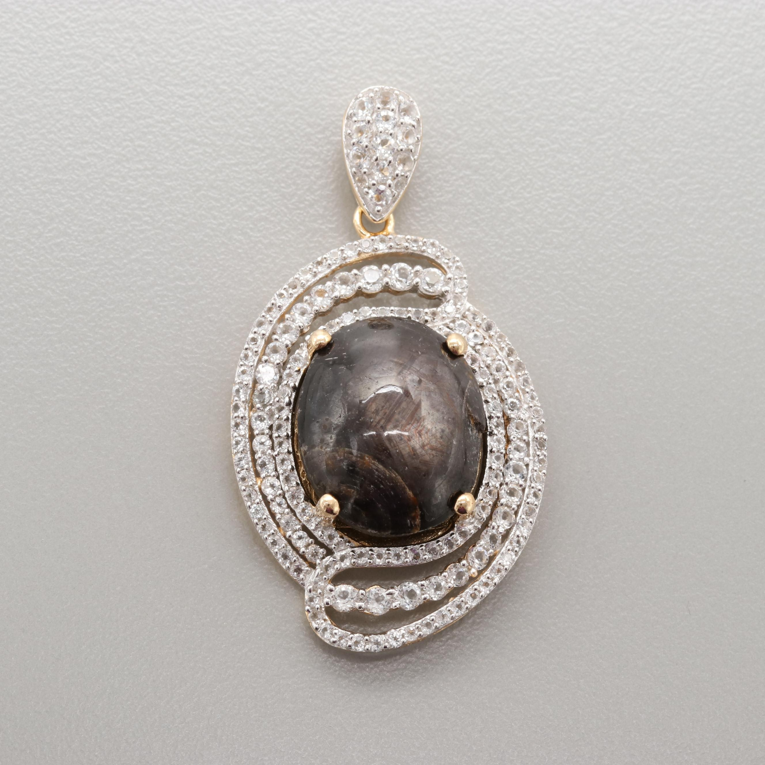 Gold Wash on Sterling Silver Corundum and White Topaz Pendant