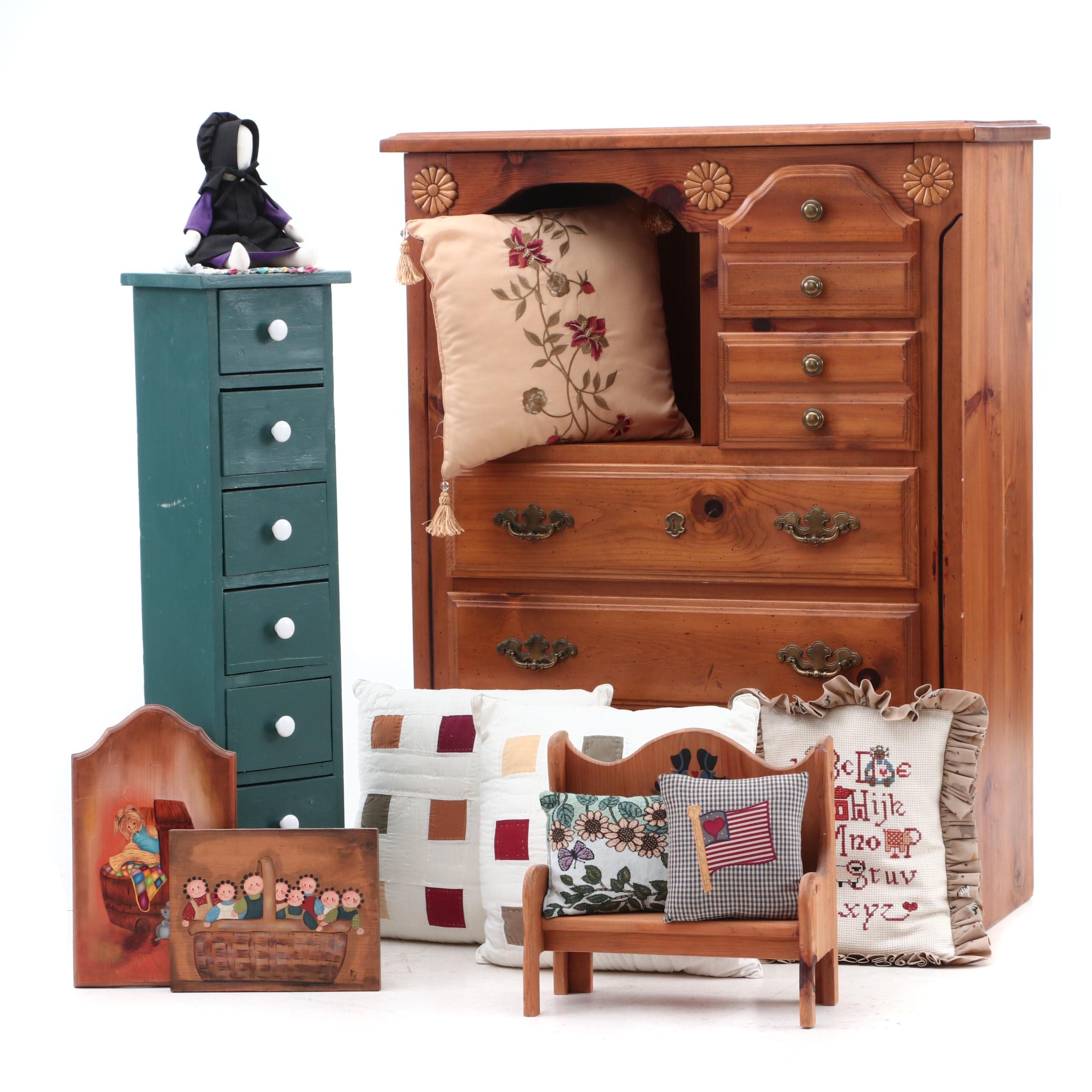 Chest of Drawers and Farmhouse Style Decor Including Handmade Accent Pillows