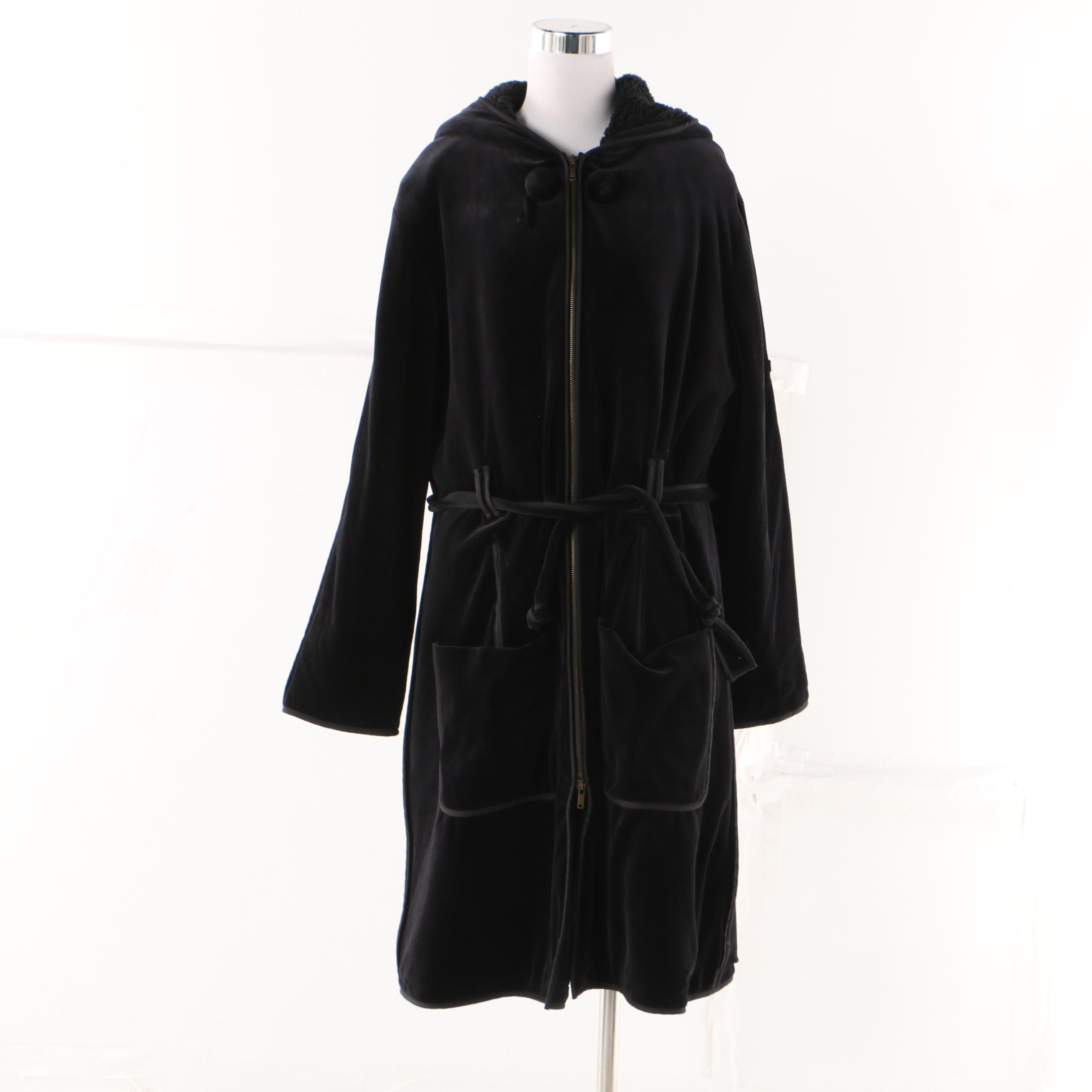 Sonia Rykiel Paris Hooded Black Velveteen Coat with Faux Shearling Lining