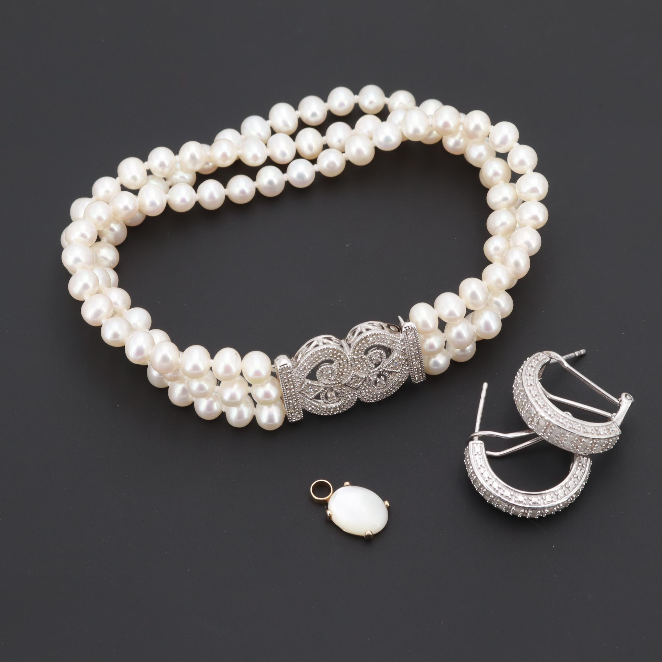 Sterling Cultured Pearl and Promotional Diamonds Earrings, Pendant and Bracelet
