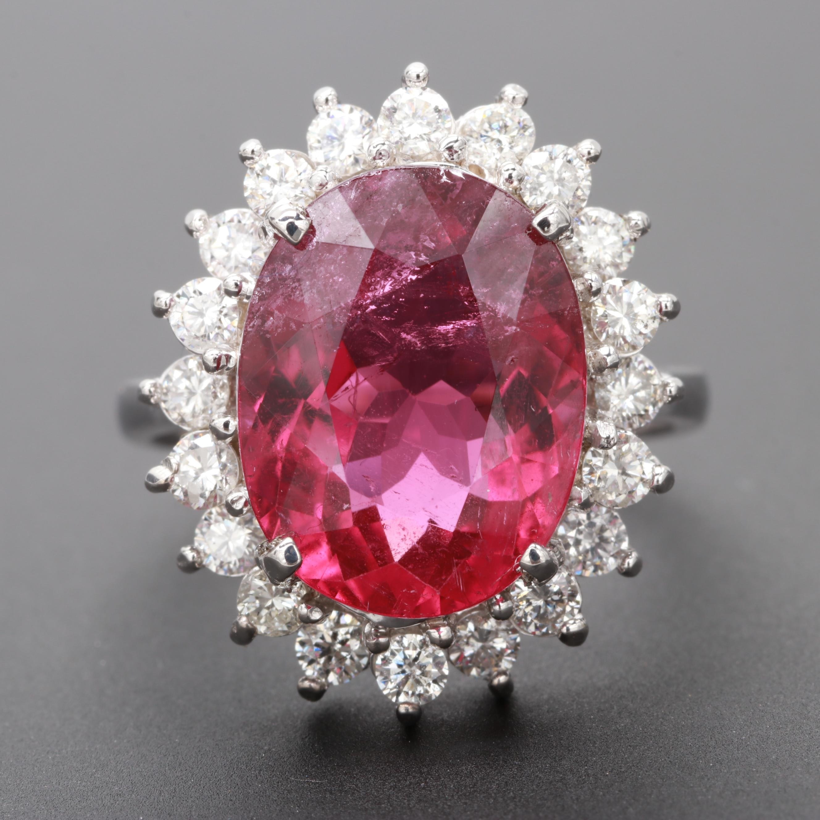 18K White Gold 5.25 CT Pink Tourmaline and Diamond Ring