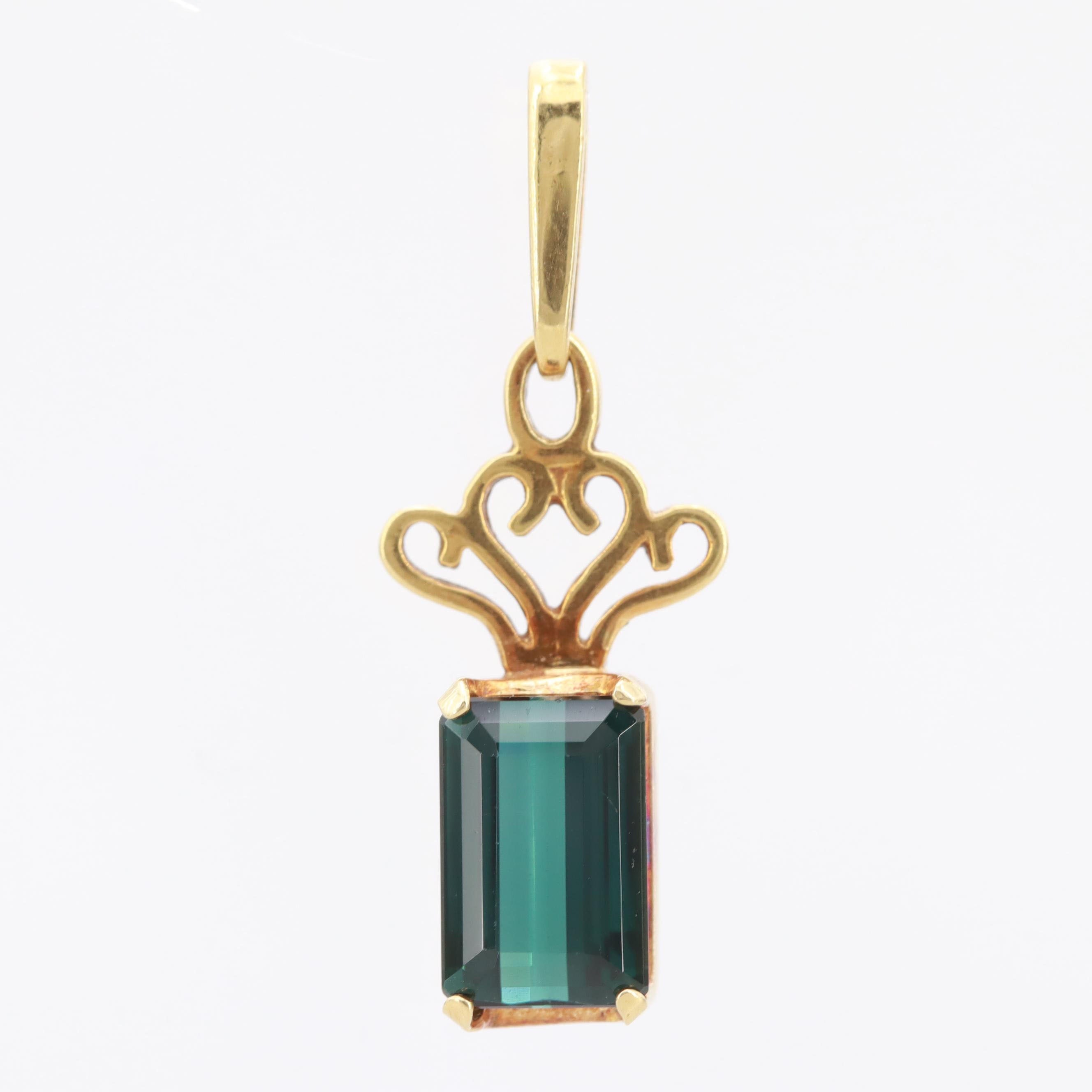 14K Yellow Gold  Tourmaline Pendant with 18K Yellow Gold  Bail and Top Trim