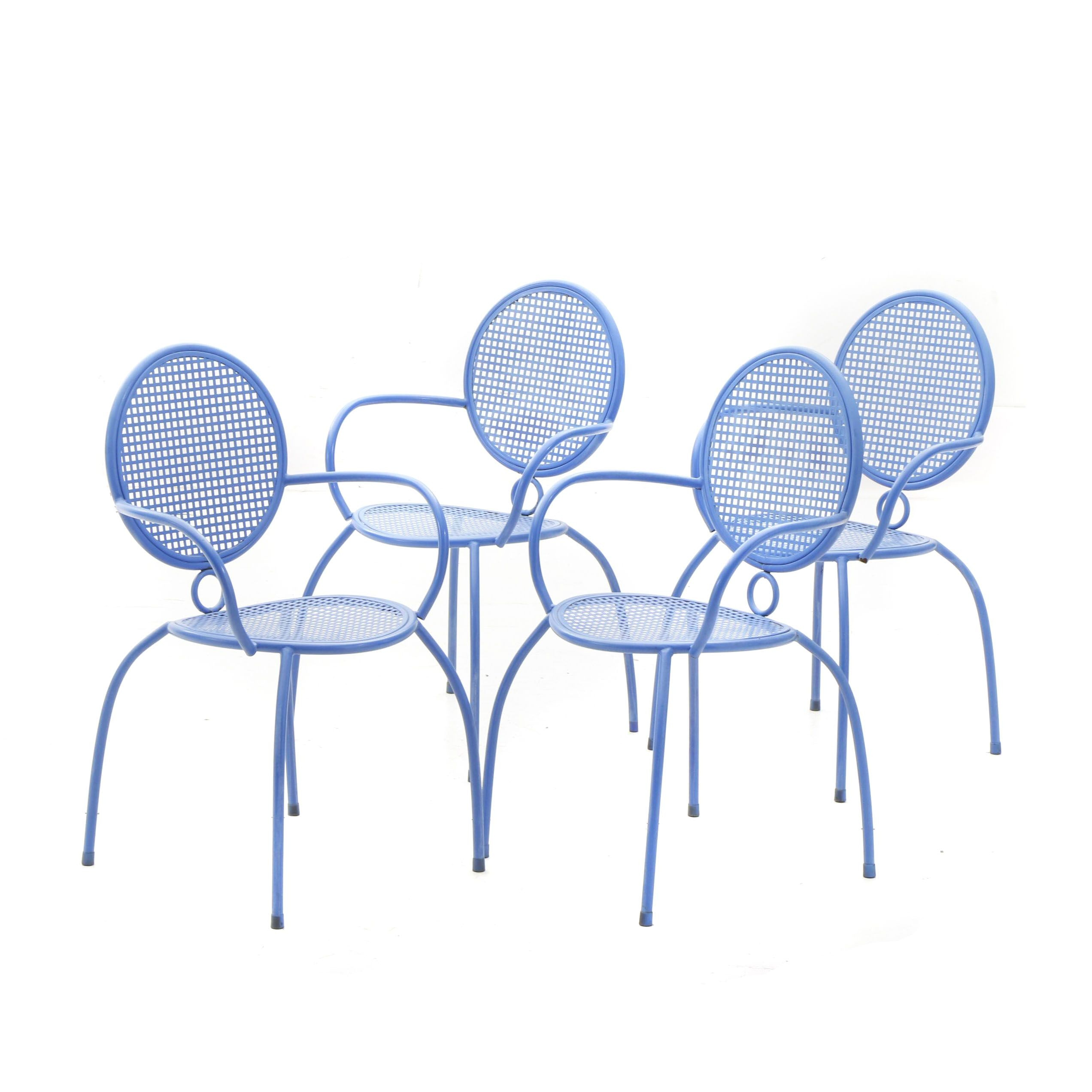 Metal Mesh Round Back Patio Chairs in Blue